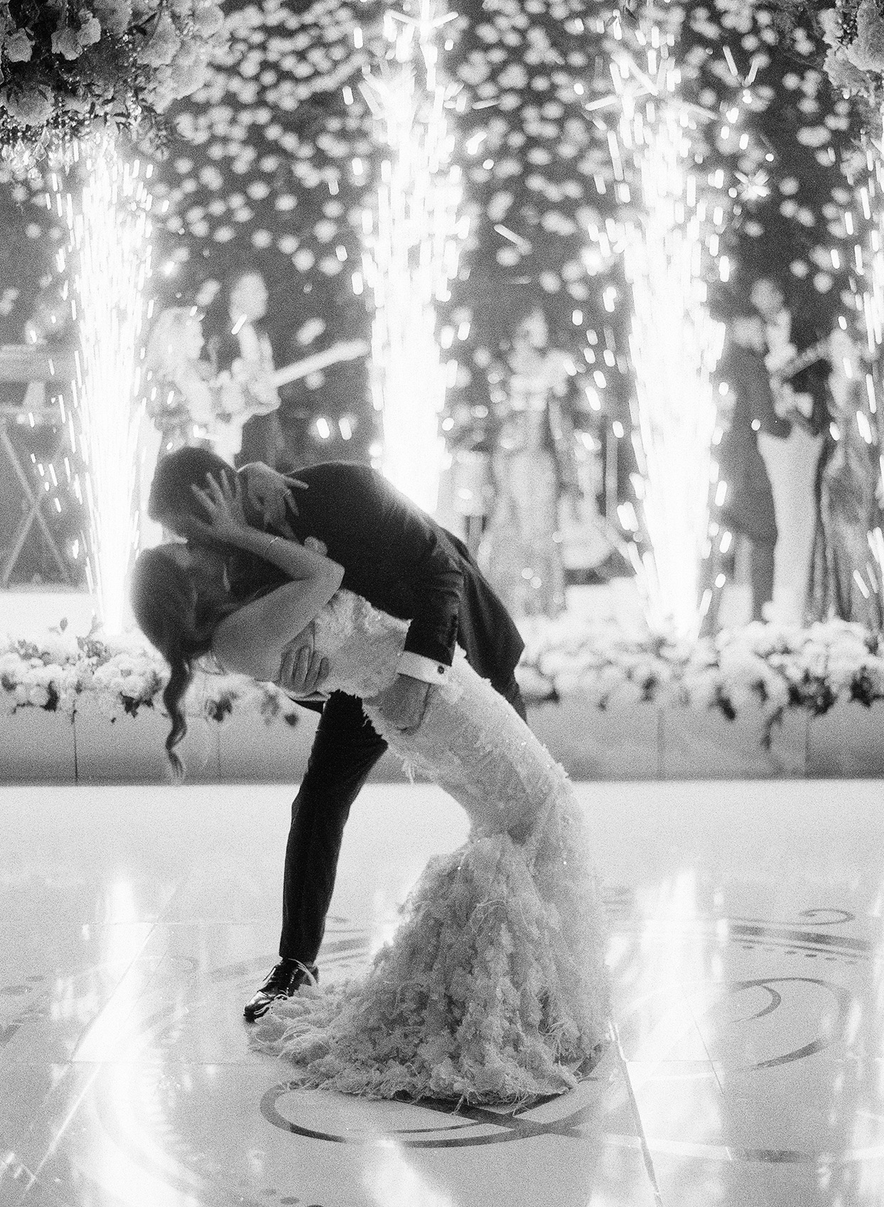 brittany brian wedding couple kissing and dipping during first dance
