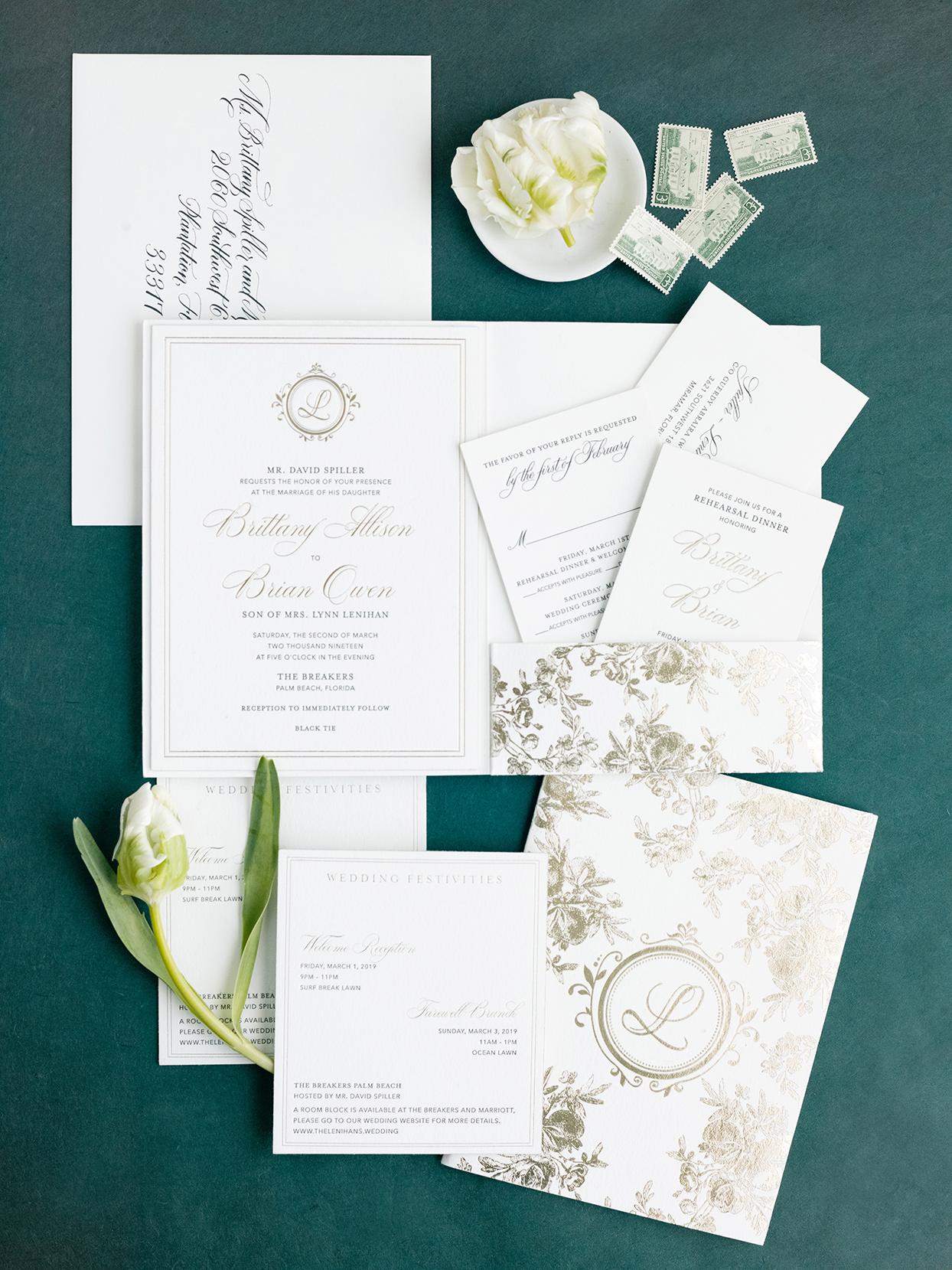 brittany brian wedding elegant gold and white invitations