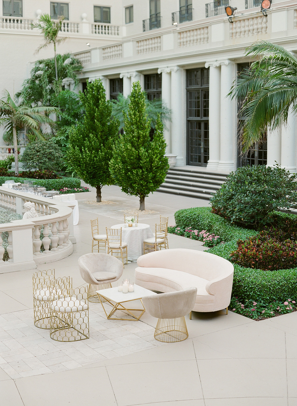 brittany brian wedding outdoor courtyard lounge