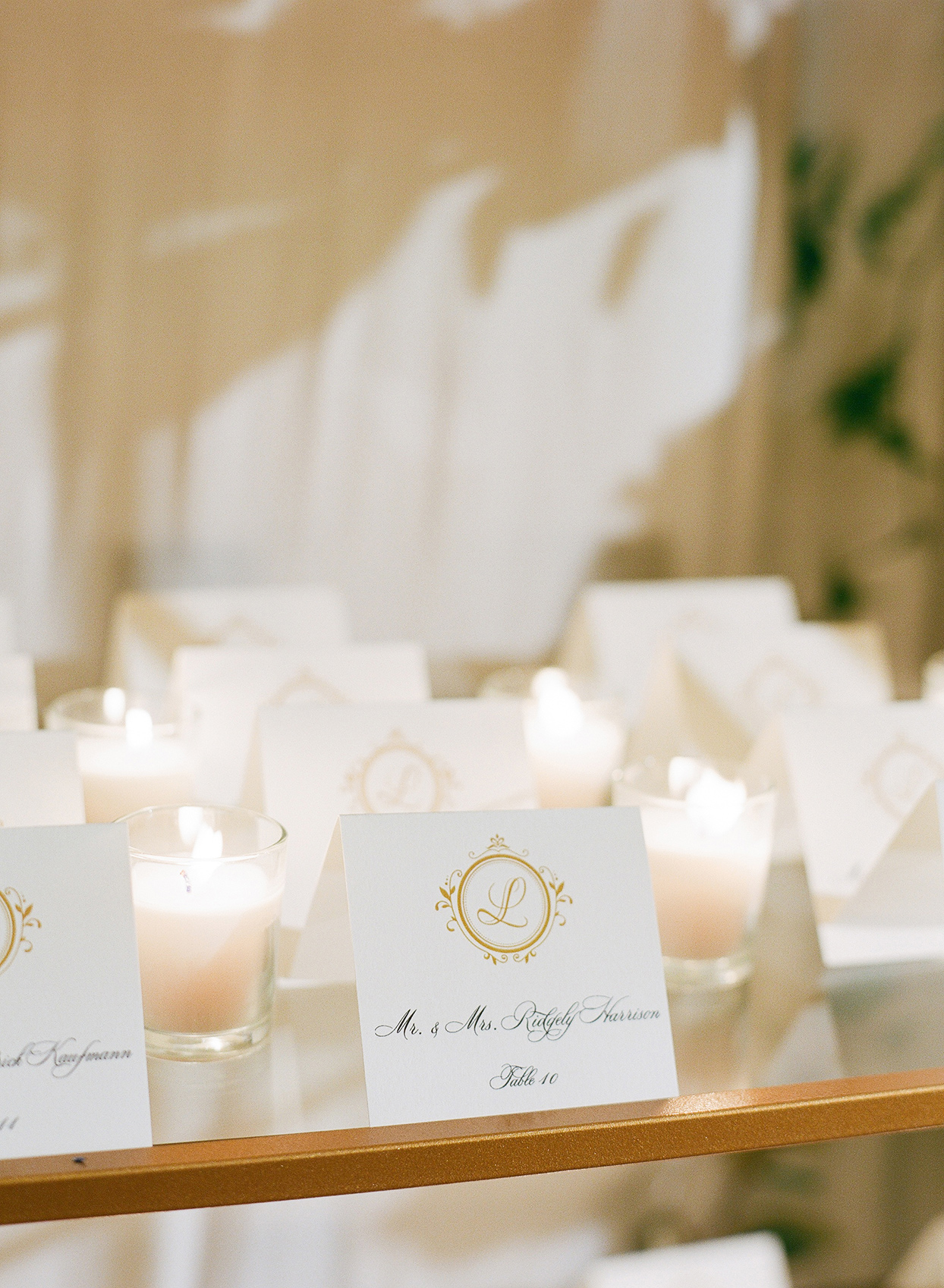 brittany brian wedding elegant gold and white place cards