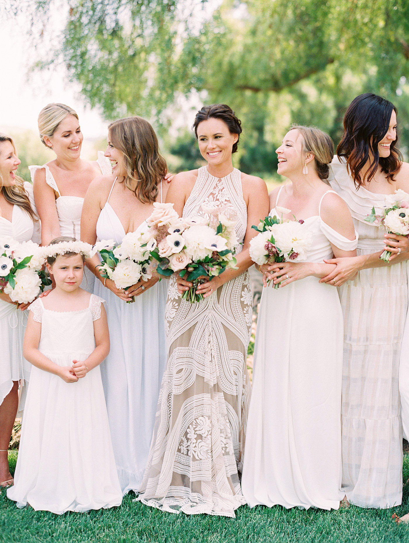 Caitlin and Fletcher wedding bridesmaids and bride