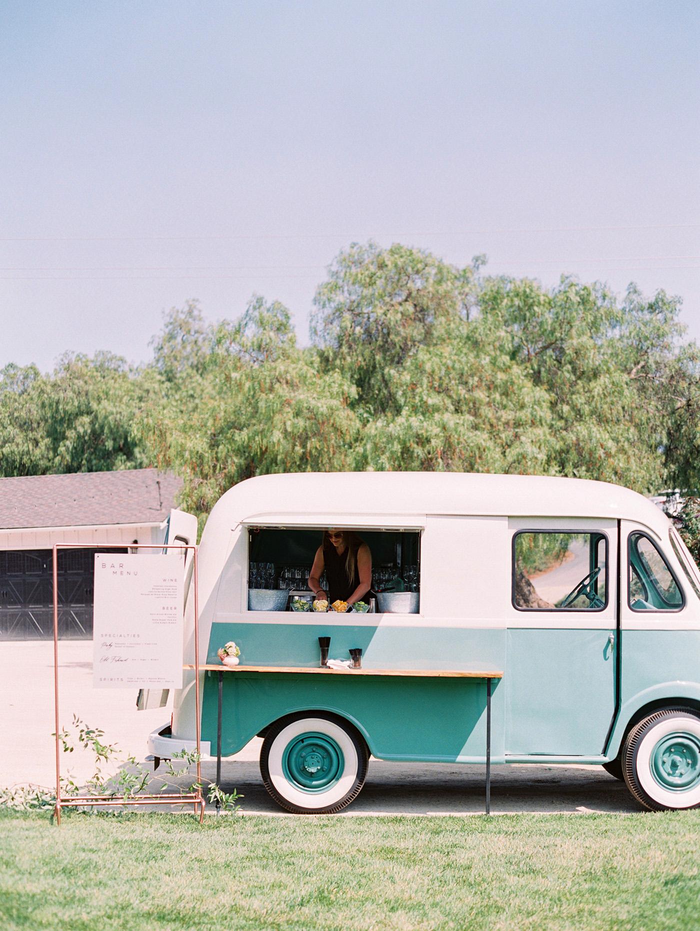 Caitlin and Fletcher wedding cocktail hour mini bus