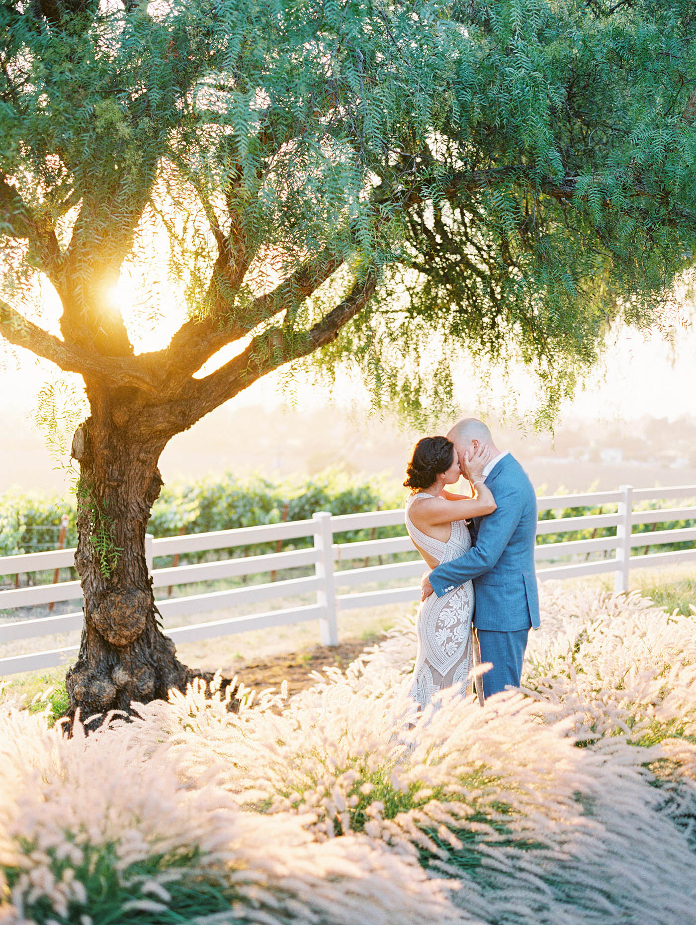 Caitlin and Fletcher wedding couple kissing by tree