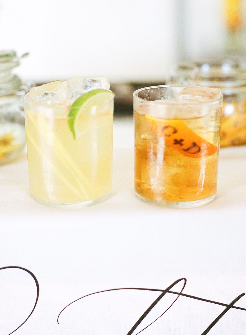 signature cocktails an old-fashioned and a gin-and-thyme cocktail
