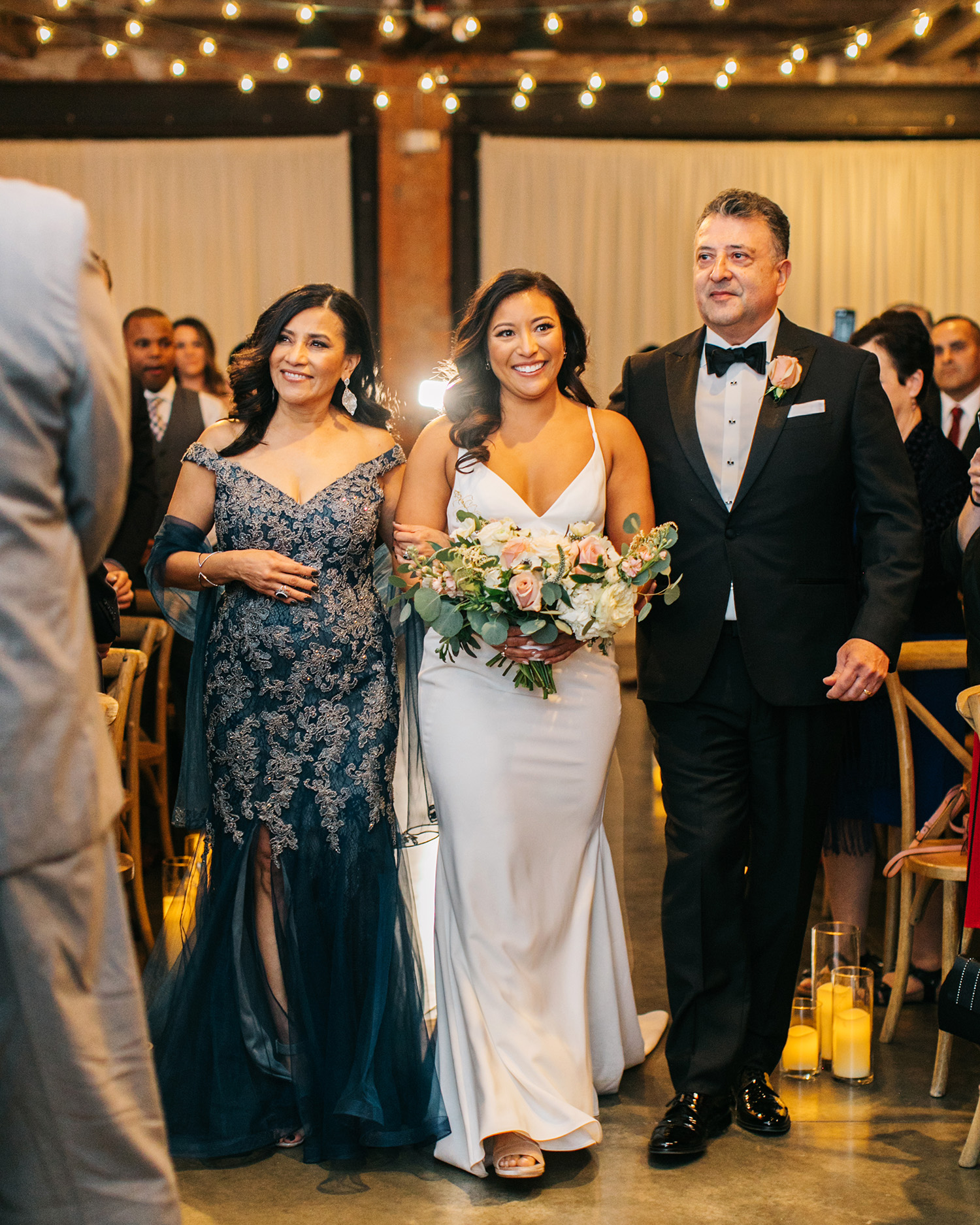 jessica ali wedding processional bride and parents