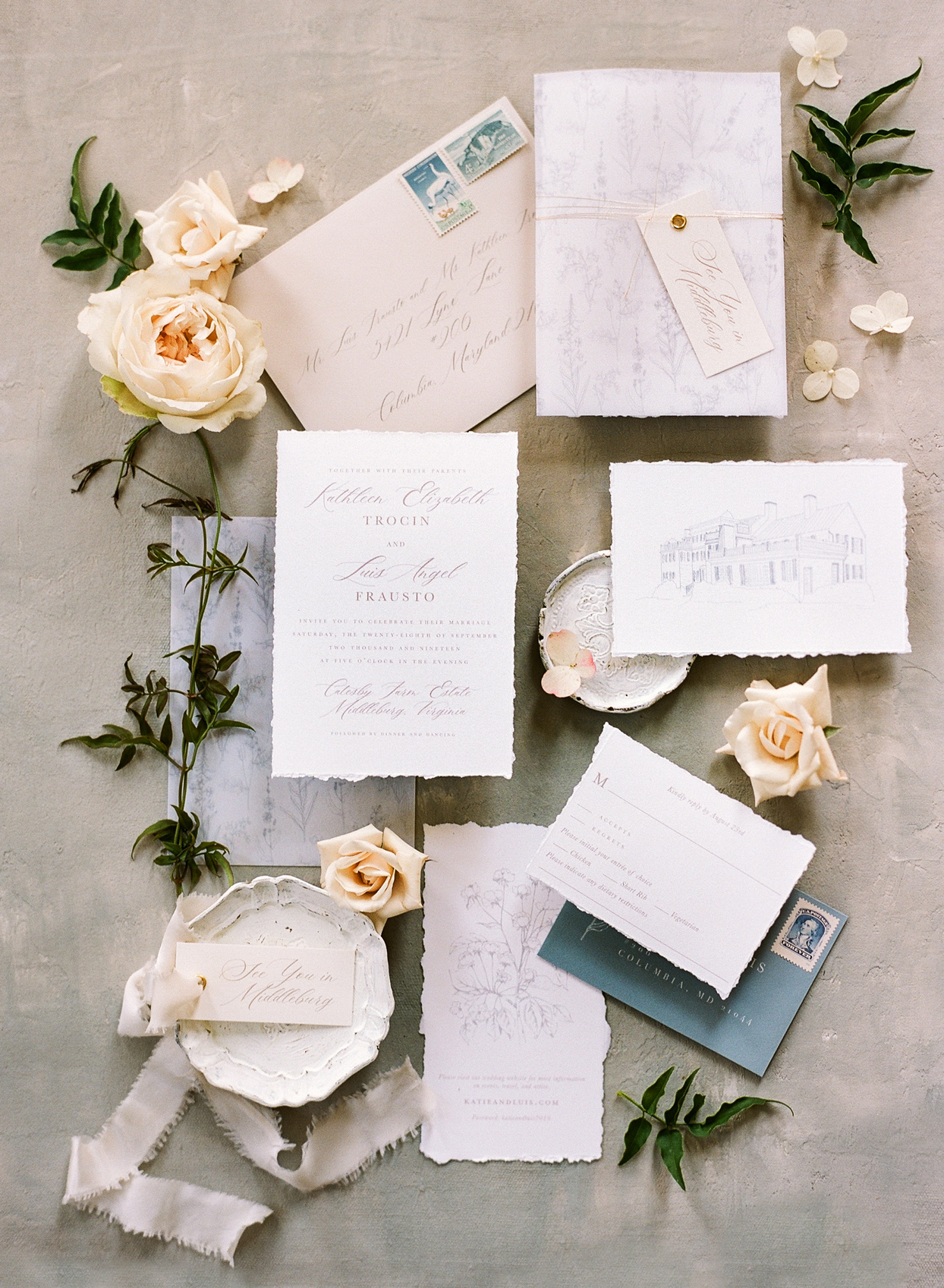 raw edge white wedding invites