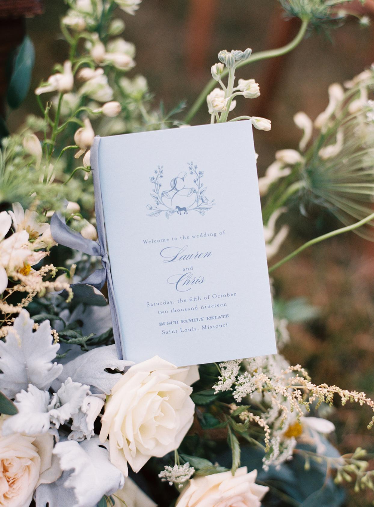 lauren chris wedding pastel blue ceremony program