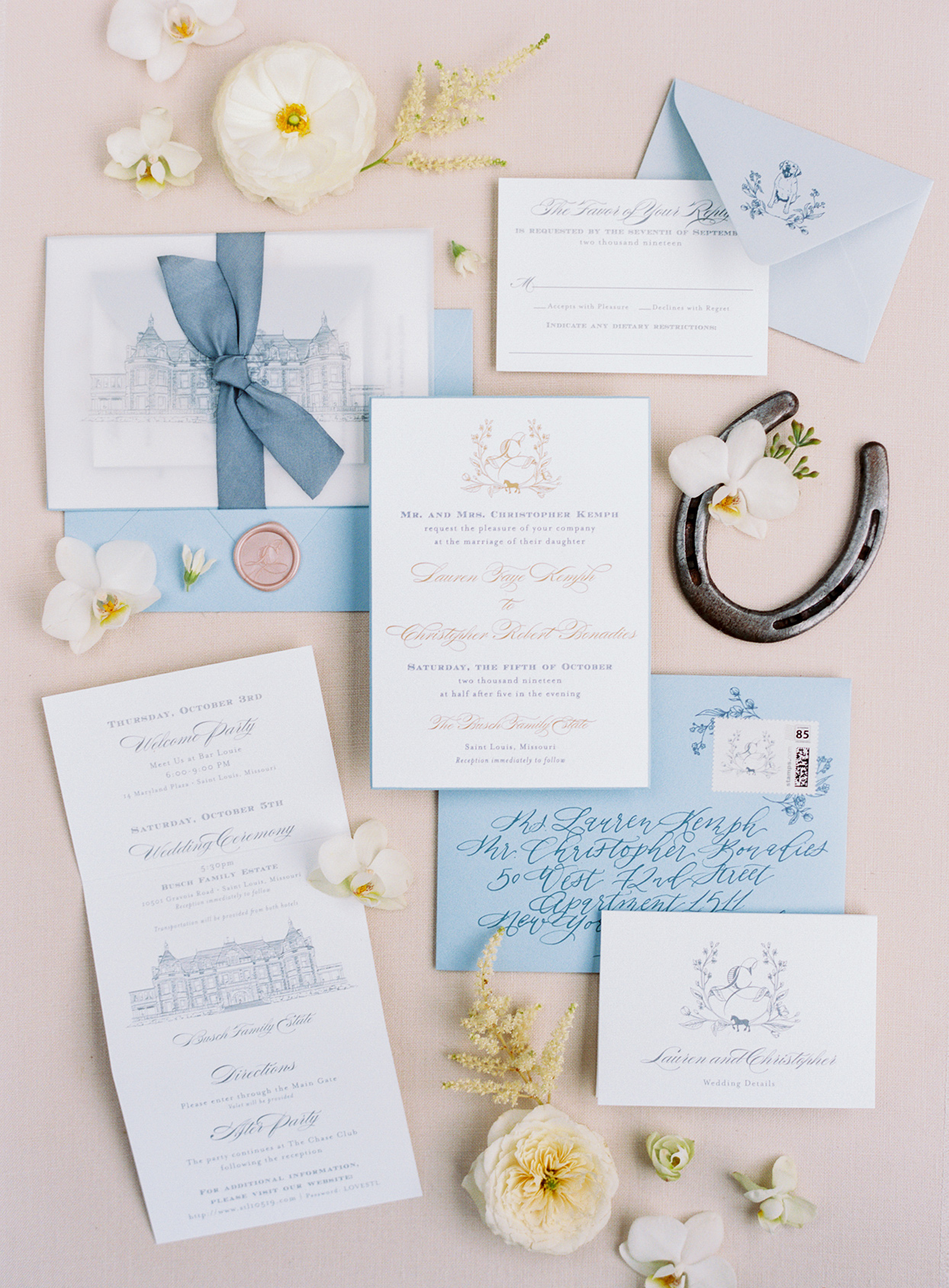lauren chris wedding elegant blue and white invites
