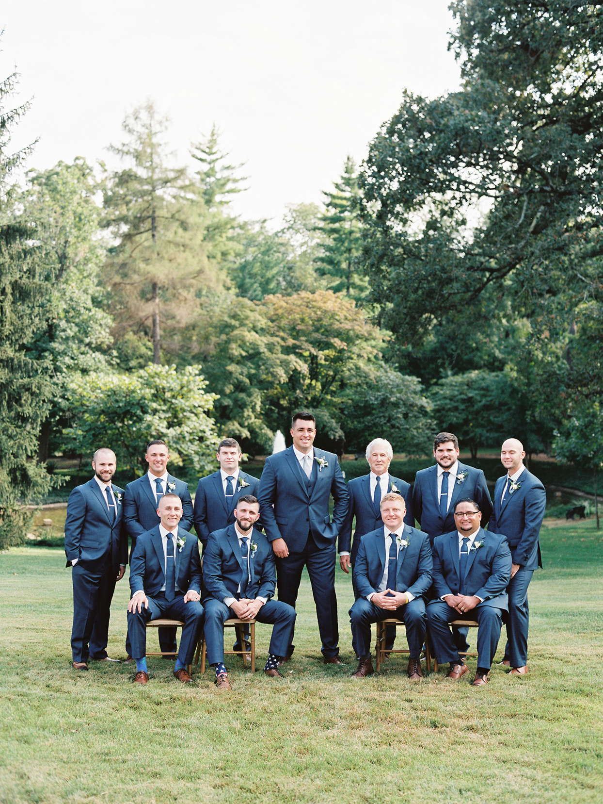 lauren chris wedding groom and men dressed in blue