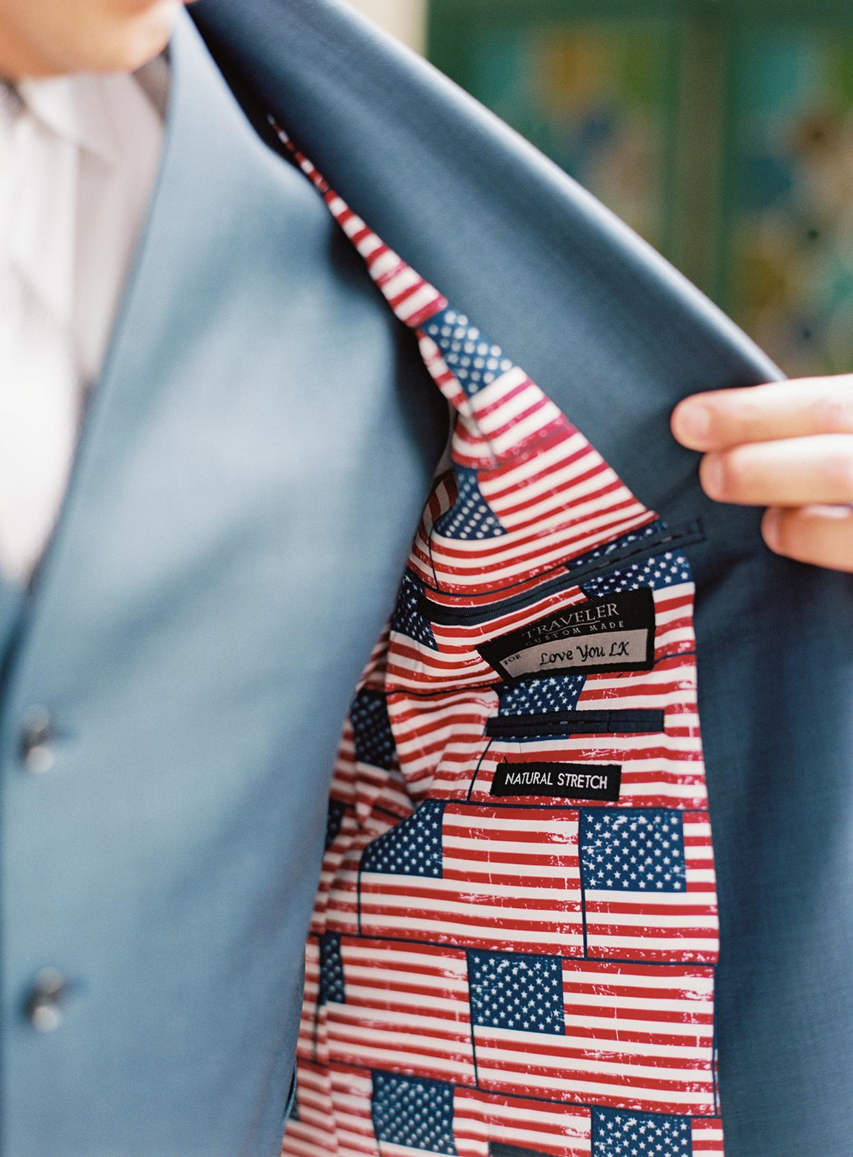 lauren chris wedding groom's american flag suit lining