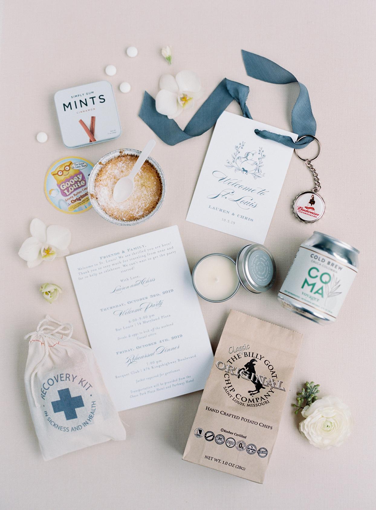 lauren chris wedding welcome bag local saint louis items