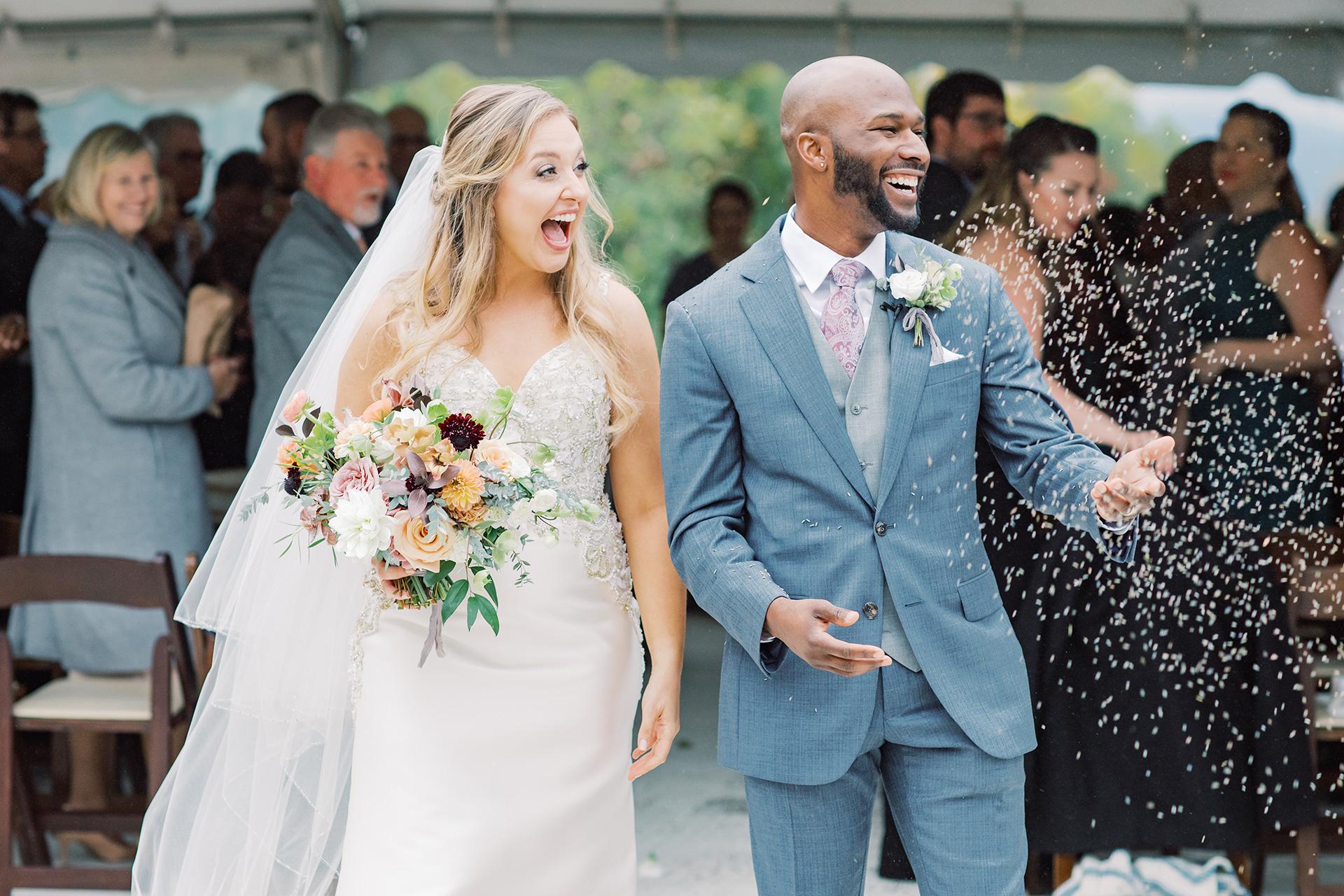 bride groom wedding recessional ceremony toss
