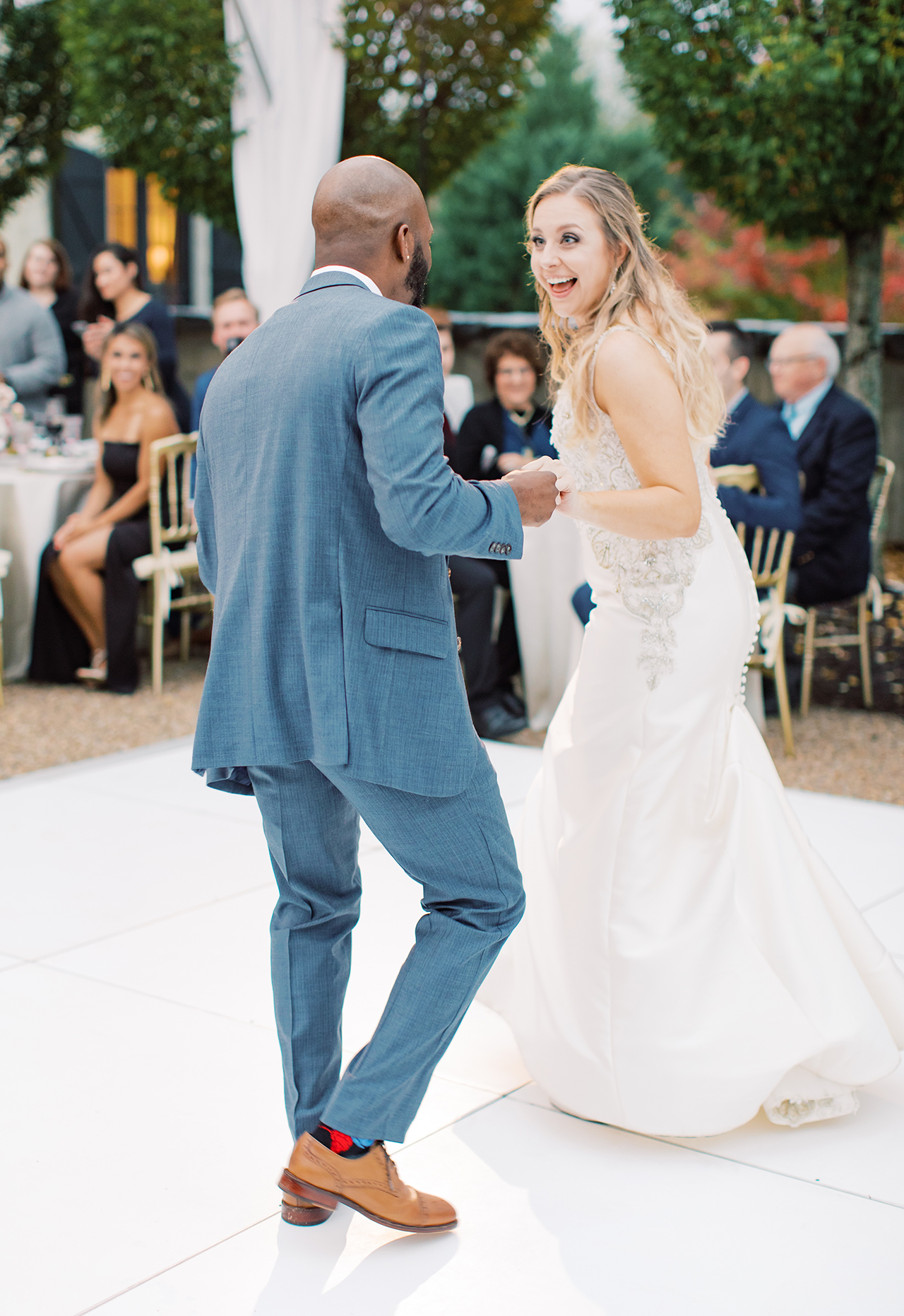 bride groom outdoor wedding reception first dance