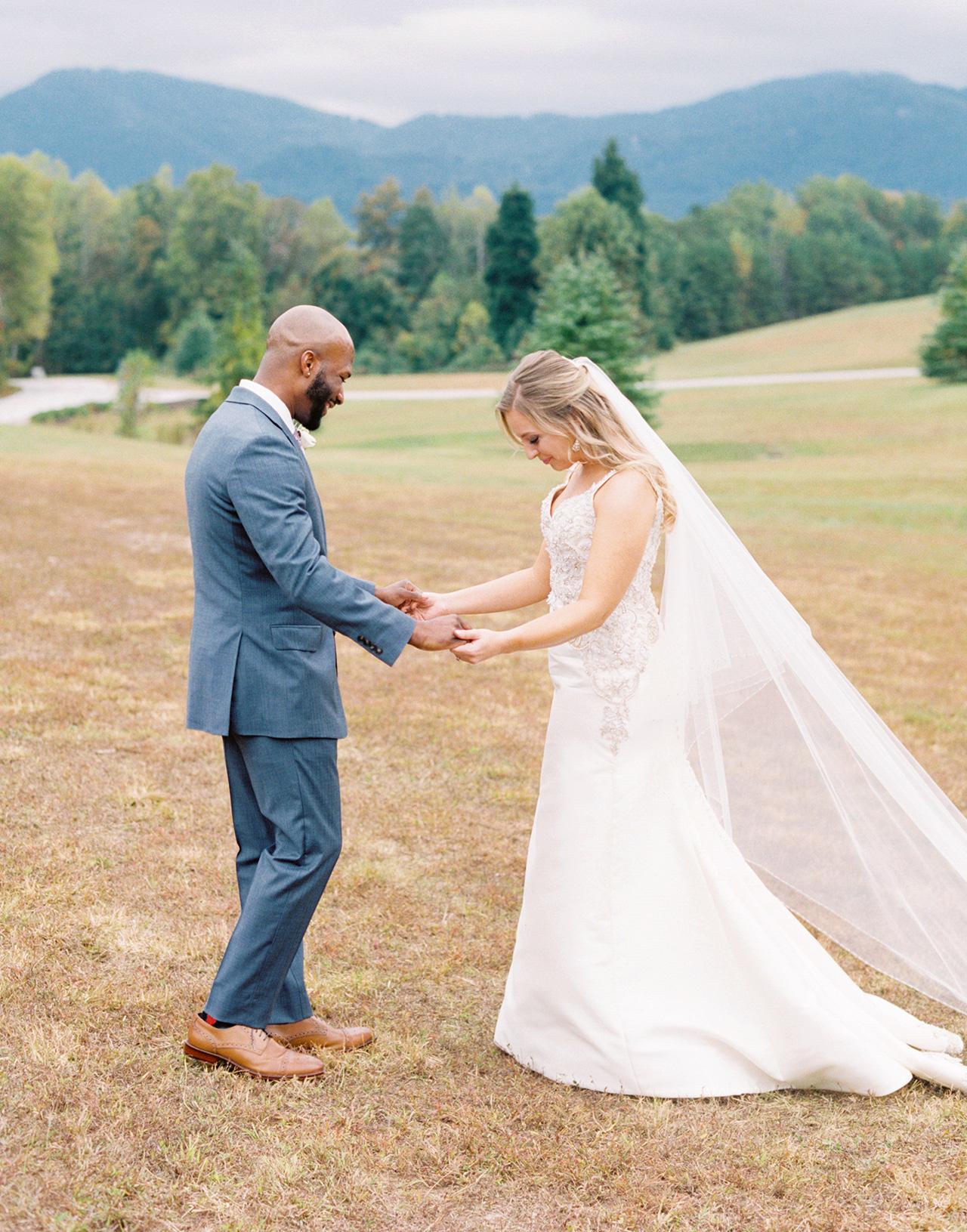 bride groom wedding first look outdoor mountain view
