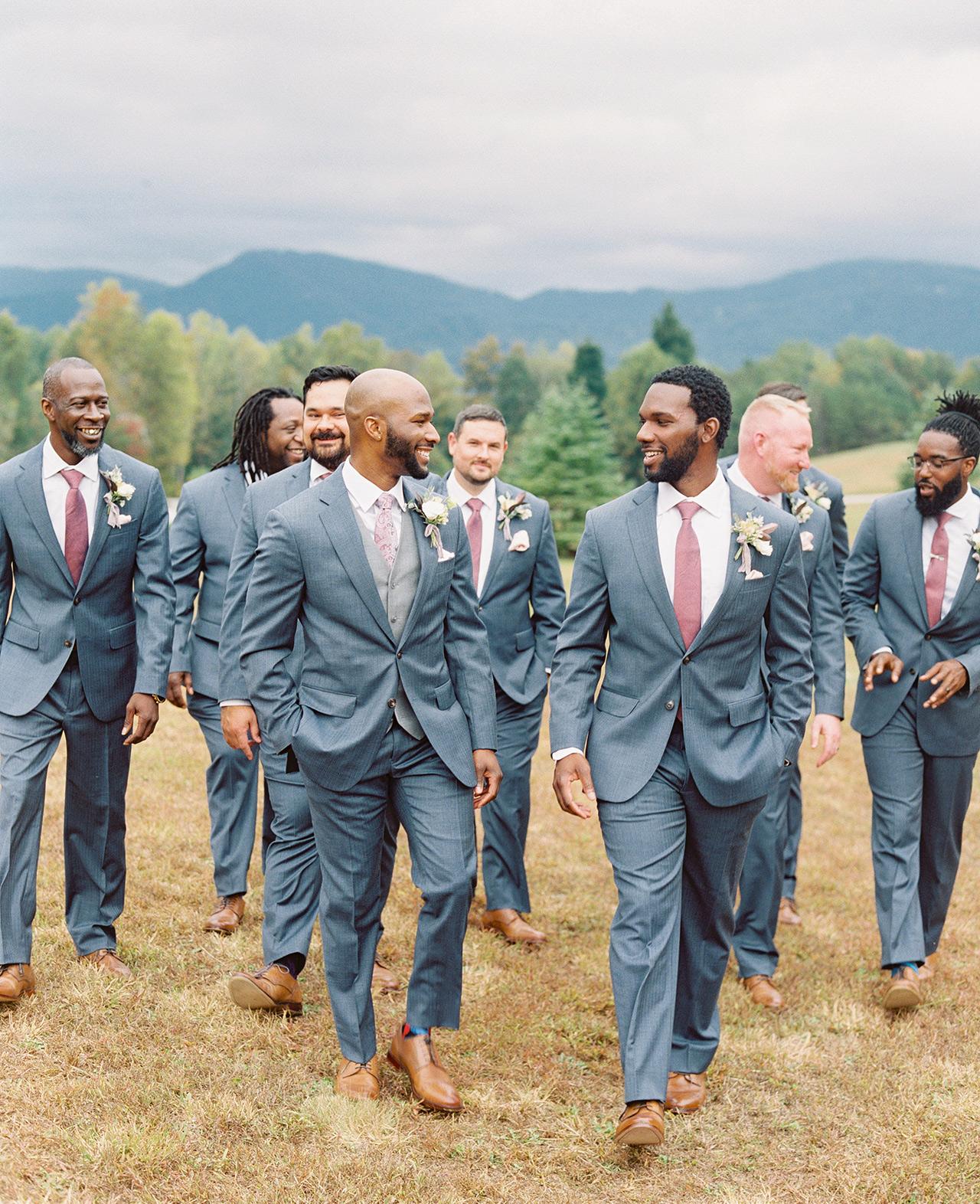 groom groomsmen light blue tuxedos fig-color ties