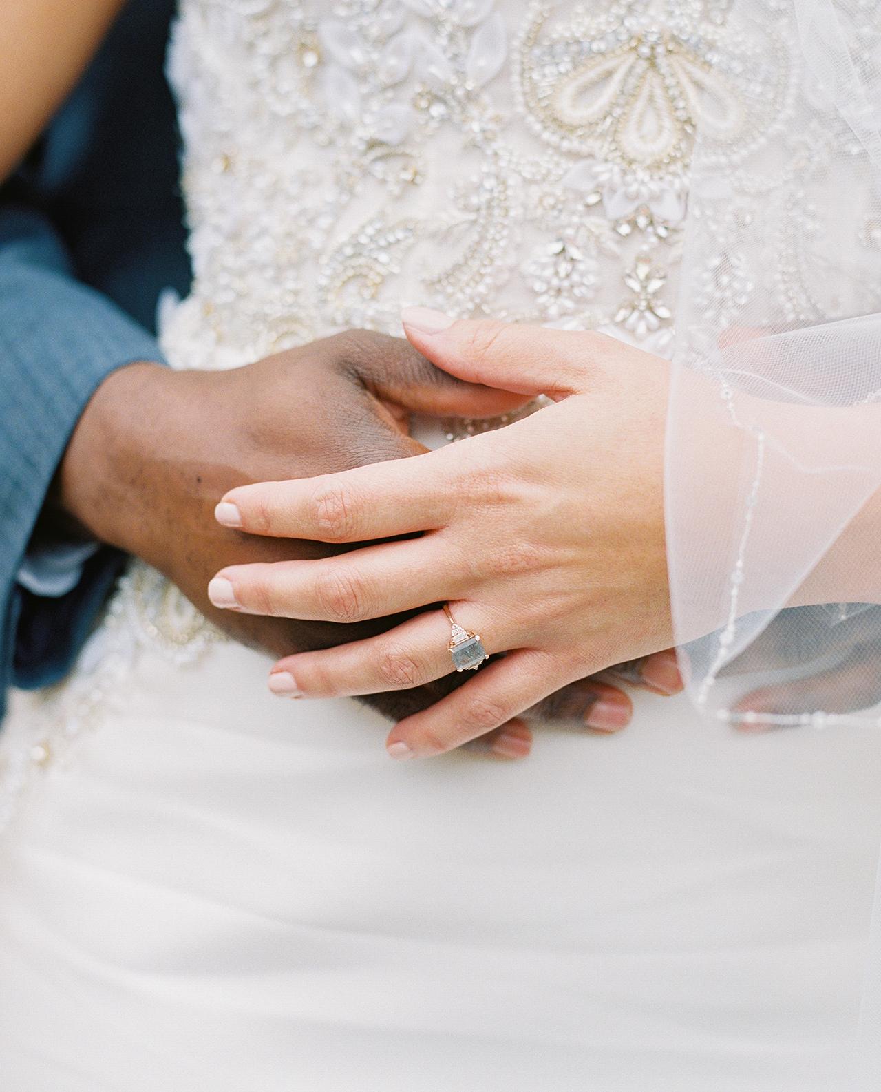 wedding couple hand embrace