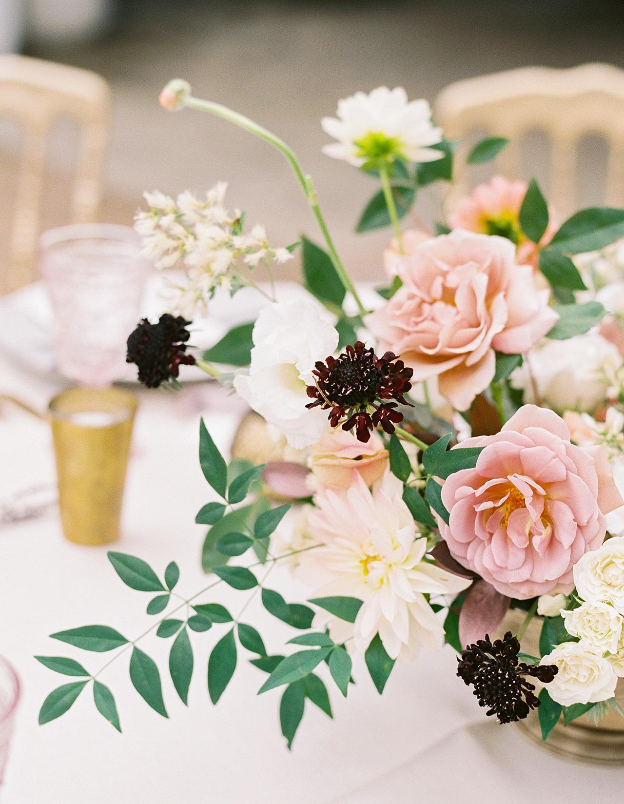 mauve peach blush ivory violet floral arrangements