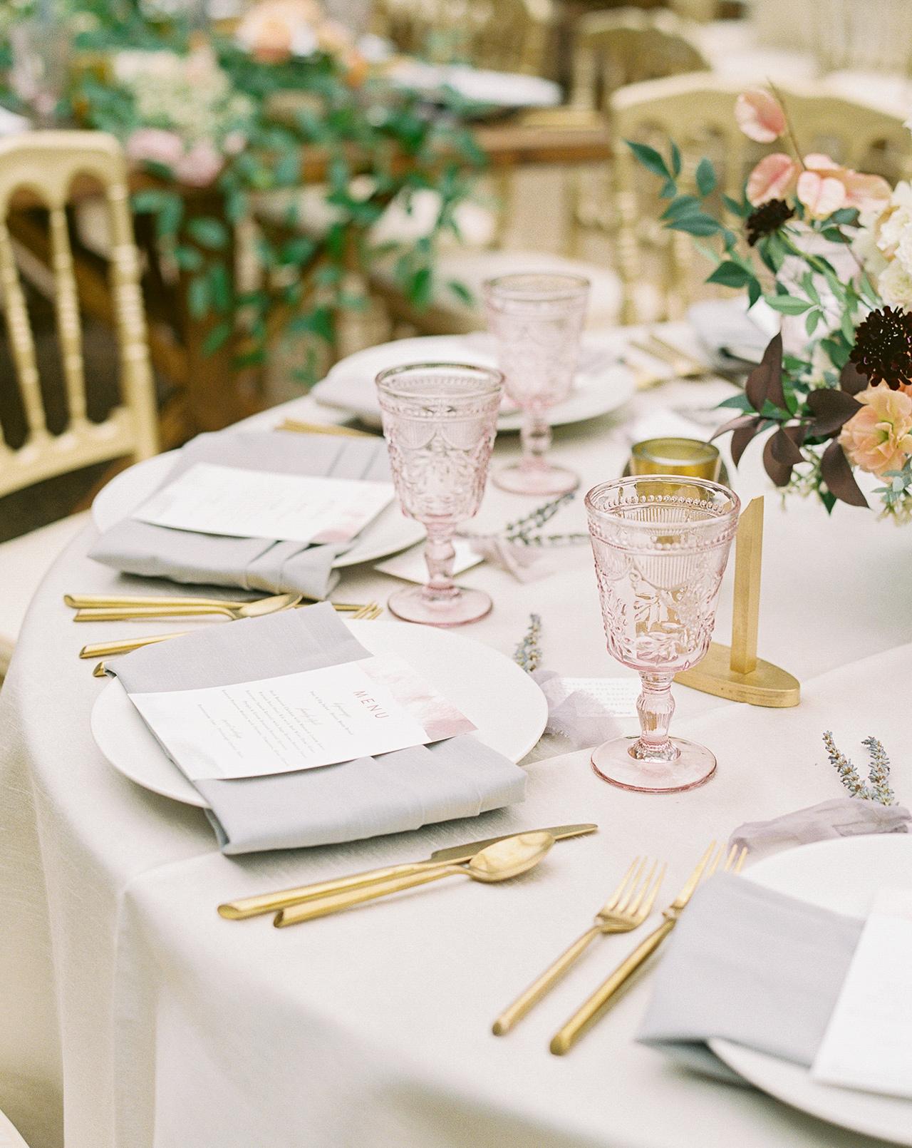 wedding reception table setting romantic glassware