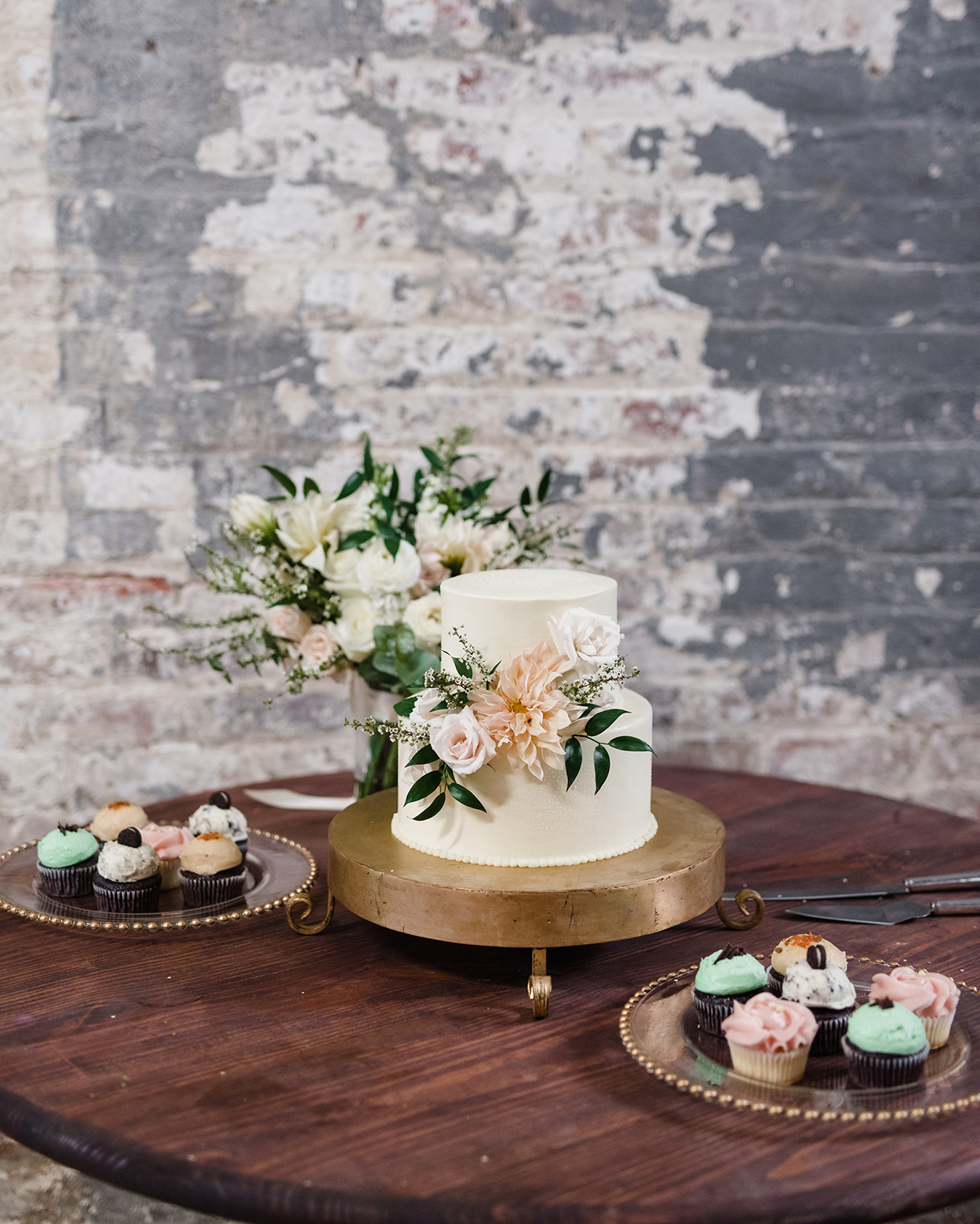 two-tier wedding cake in French vanilla with buttercream icing