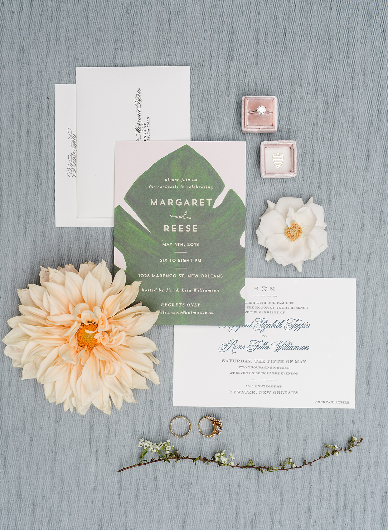 Wedding invitations with monstera leaf