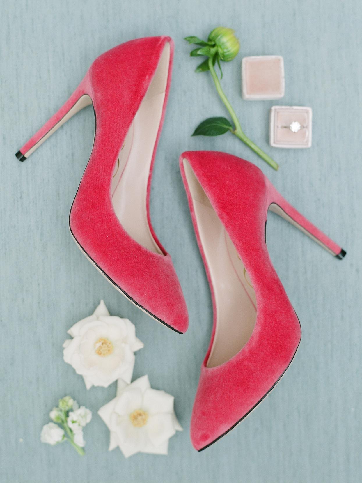 pink velvet heels from Gucci