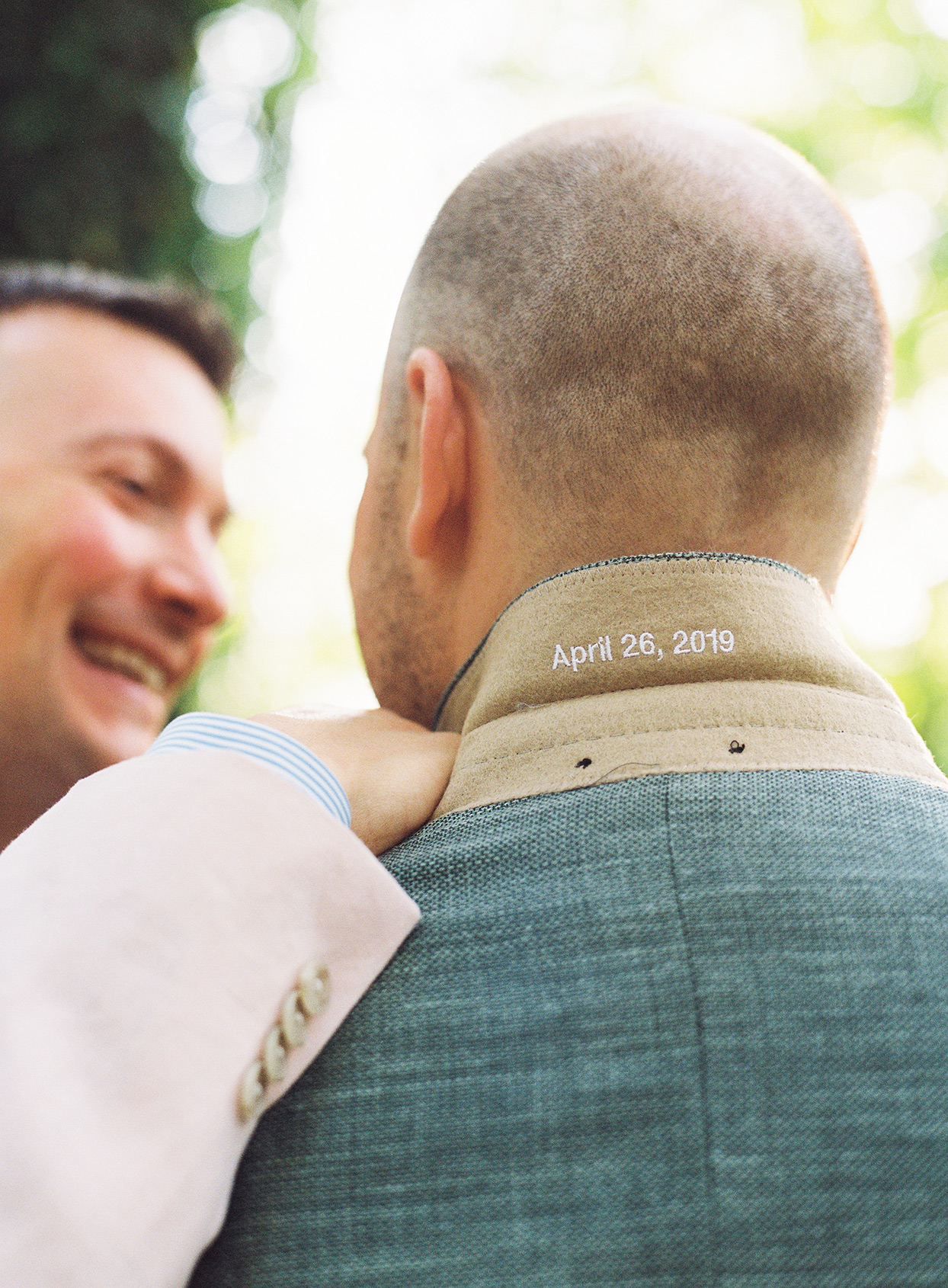 groom's welcome party jacket embroidered with date