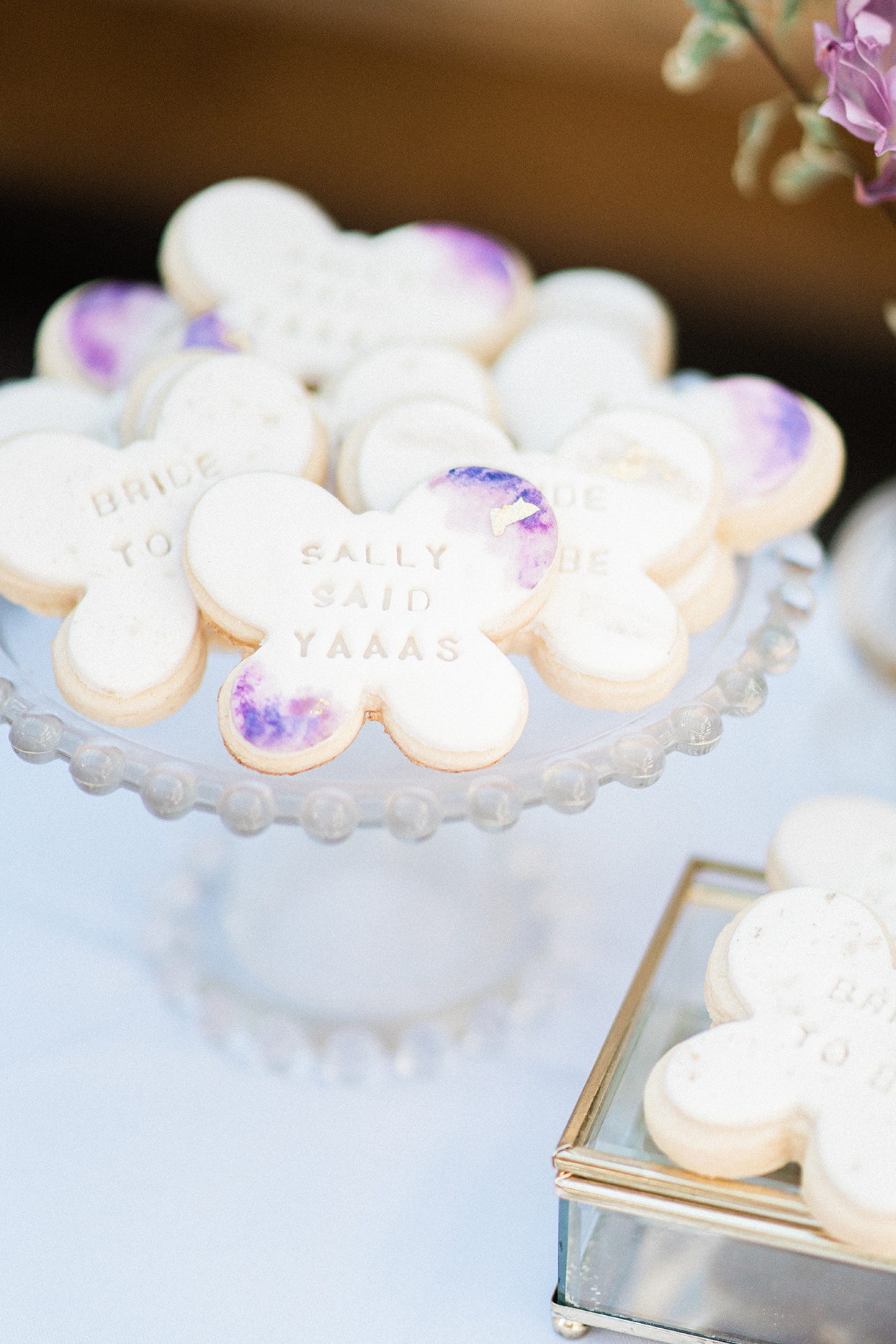 sally bridal shower butterfly shaped cookies on tray