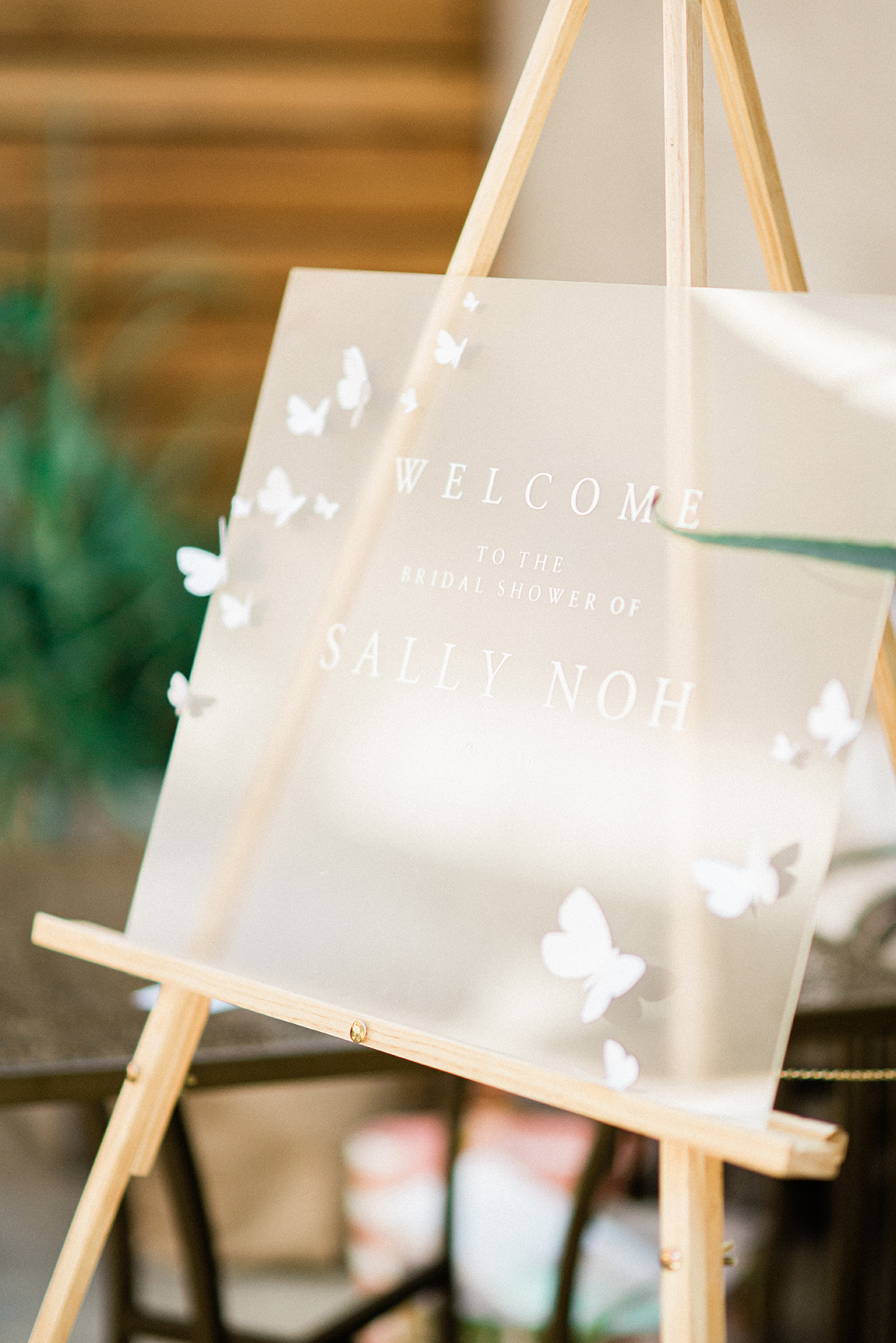 sally bridal shower welcome sign on easel