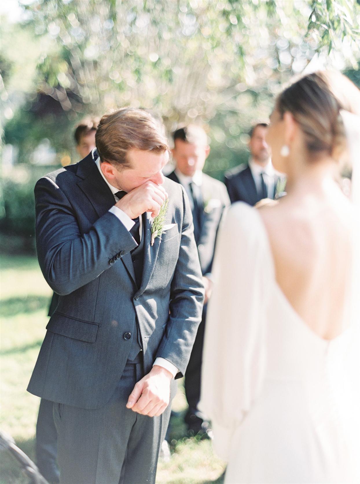 samantha cody wedding ceremony groom crying