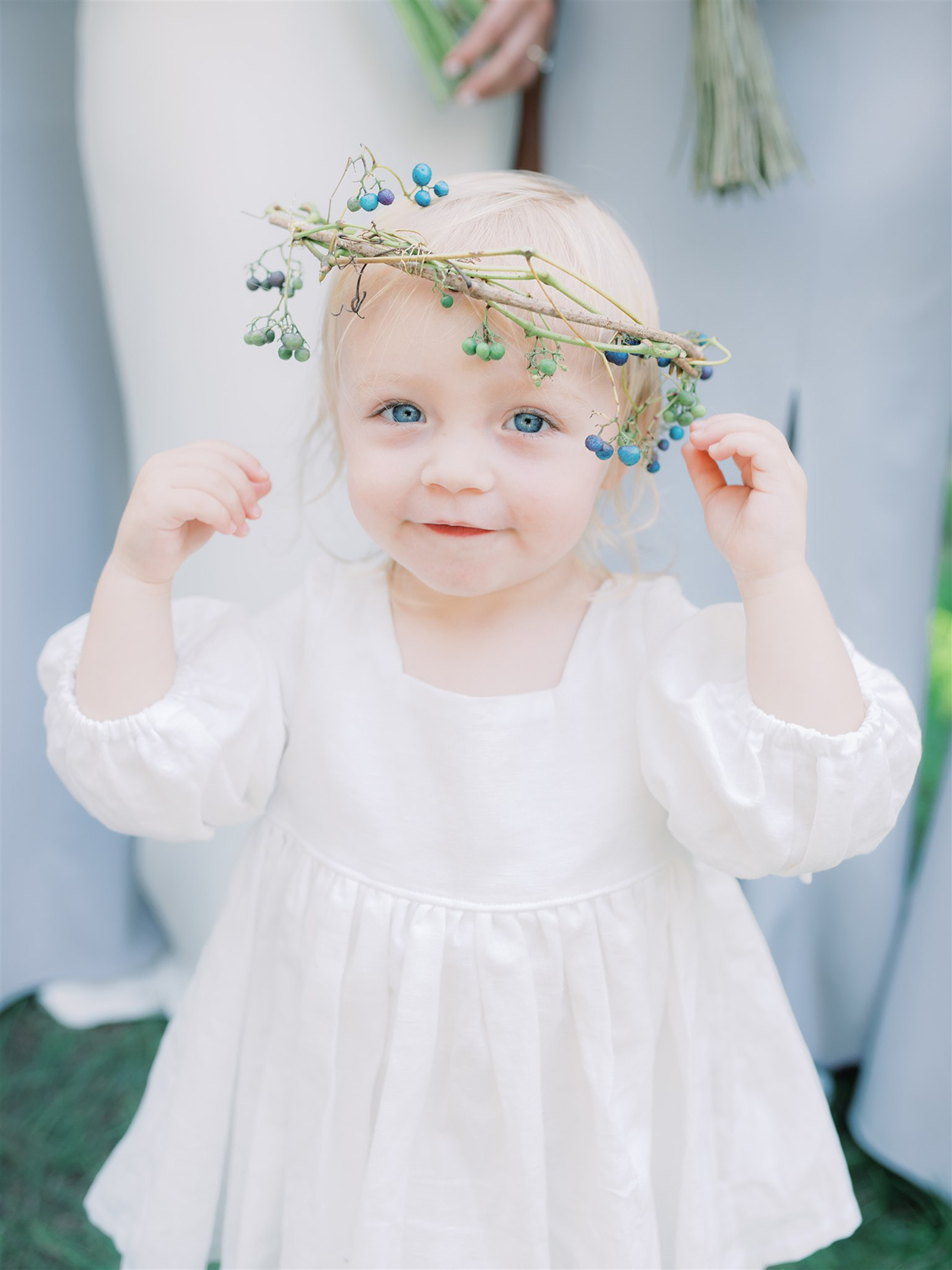 samantha cody wedding flower girl in white with berry wreath on head