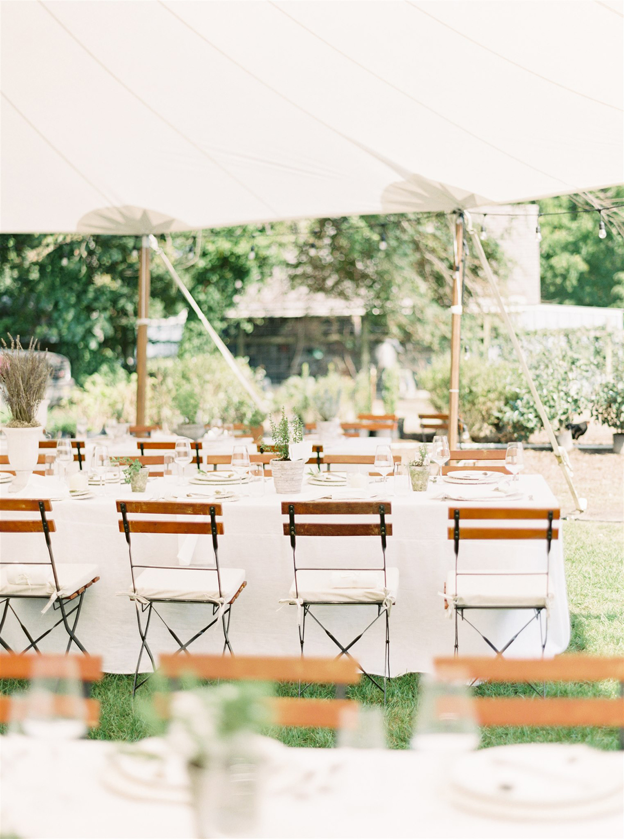 samantha cody wedding white reception tables with earthy decor in tent
