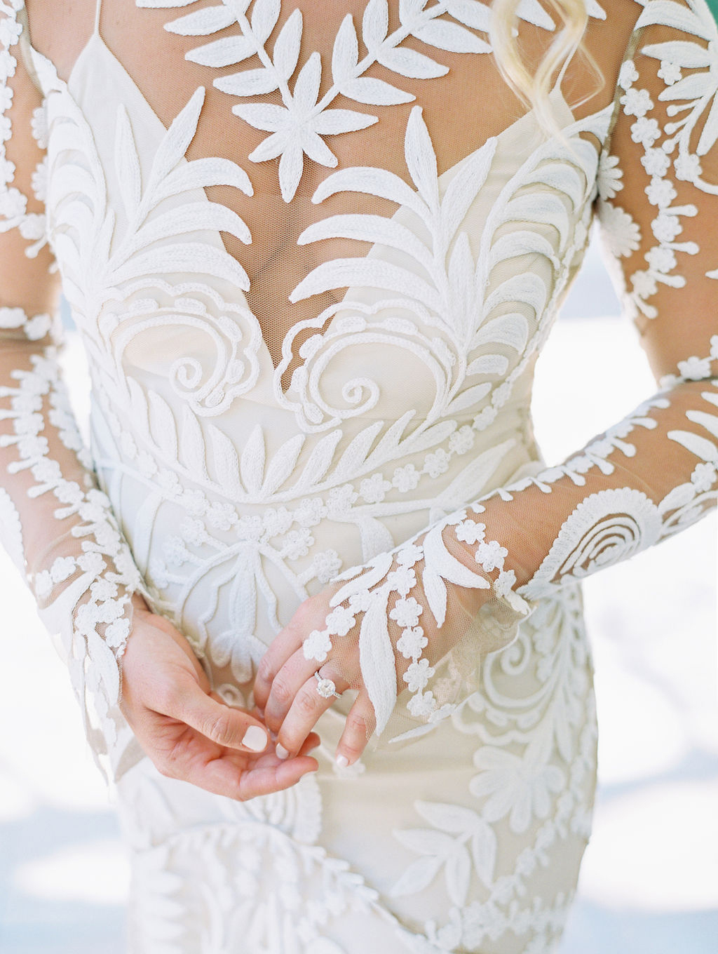 sara trisdan wedding bride's embroidered dress