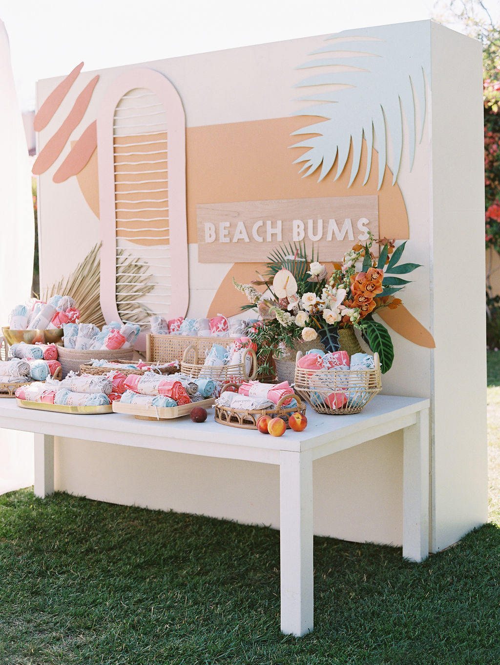 sara trisdan wedding beach bums station with escort card towels