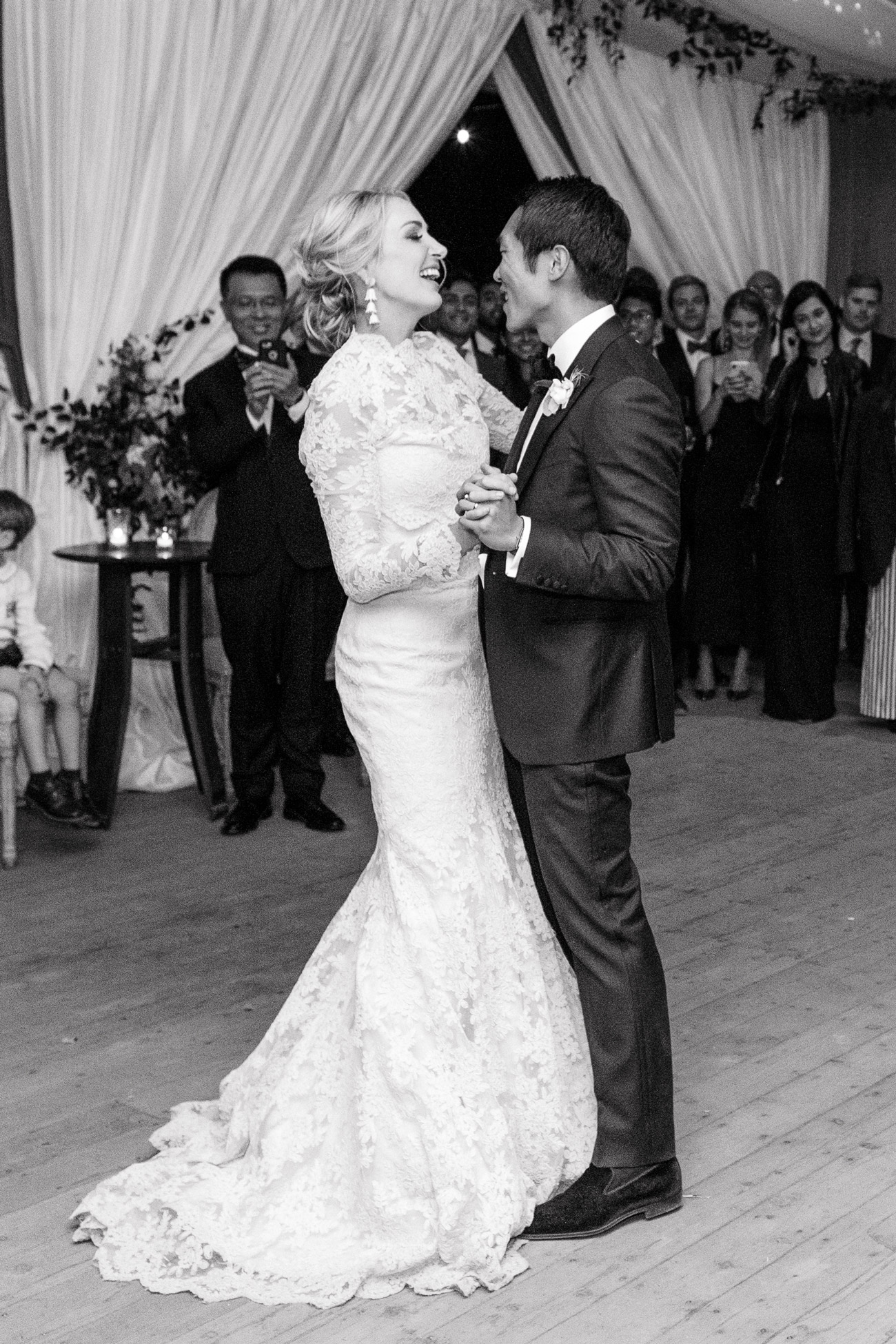 black and white photo of Sarah and Tengbo first dance