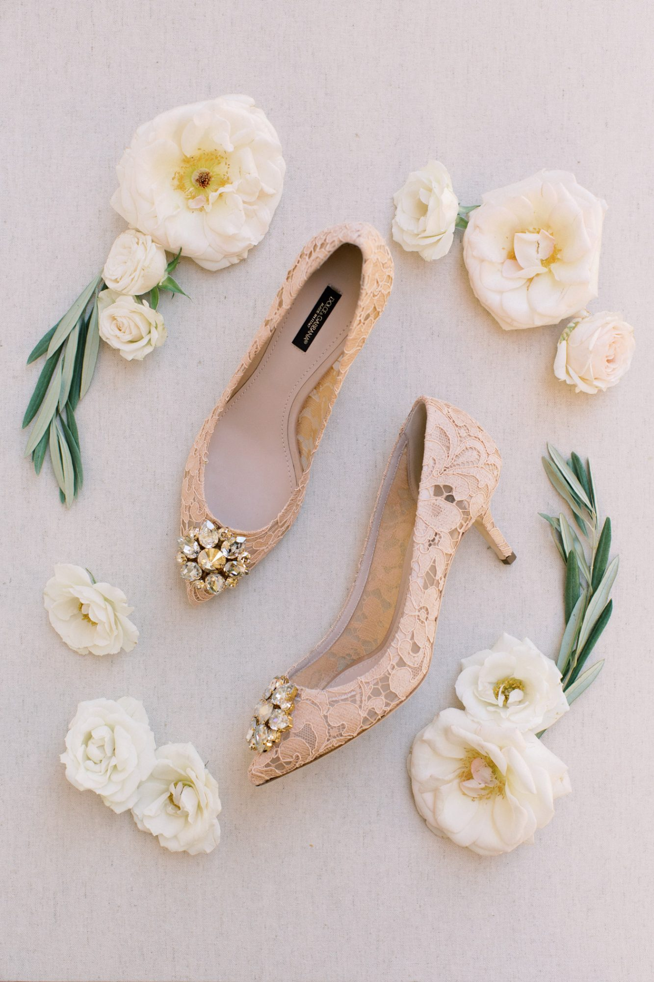 aerial view of wedding shoes