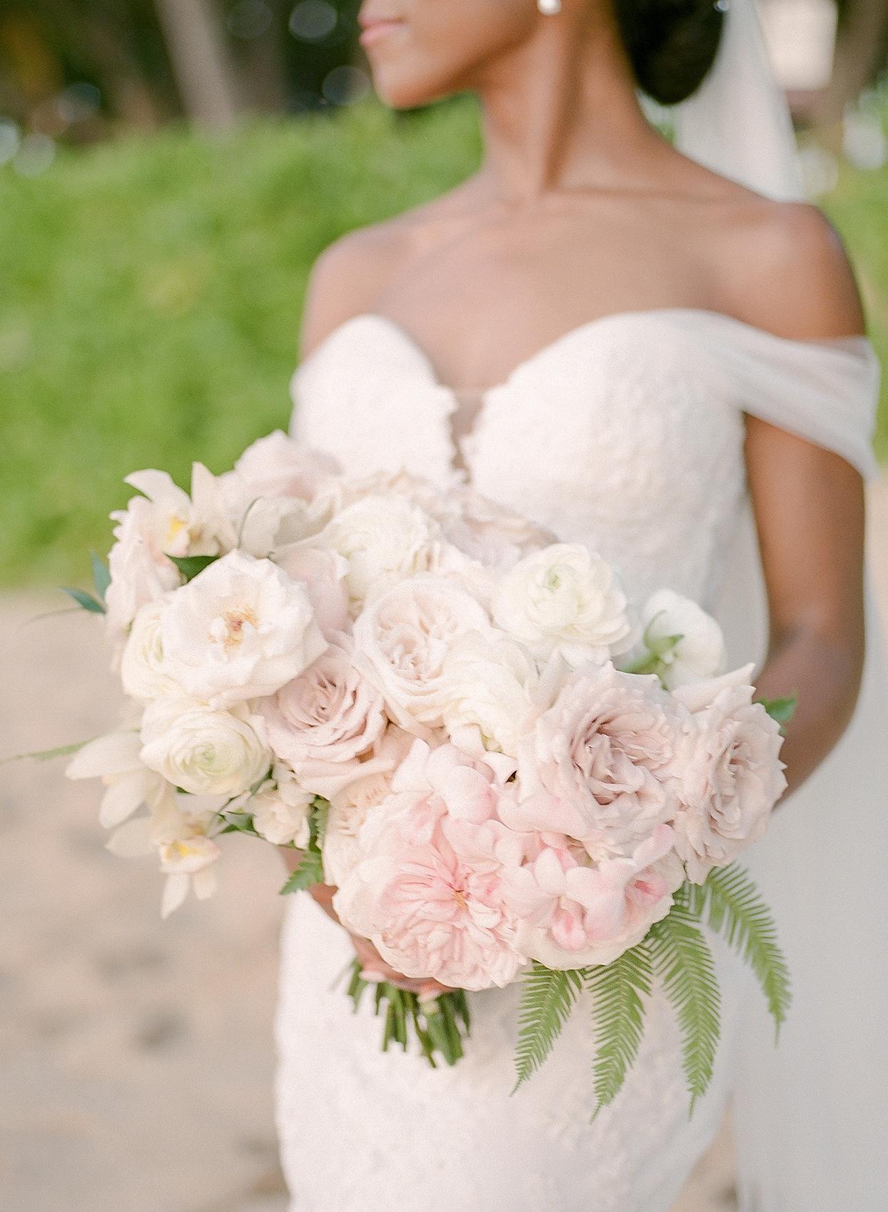 vanessa nathan wedding bride's pastel pink floral bouquet