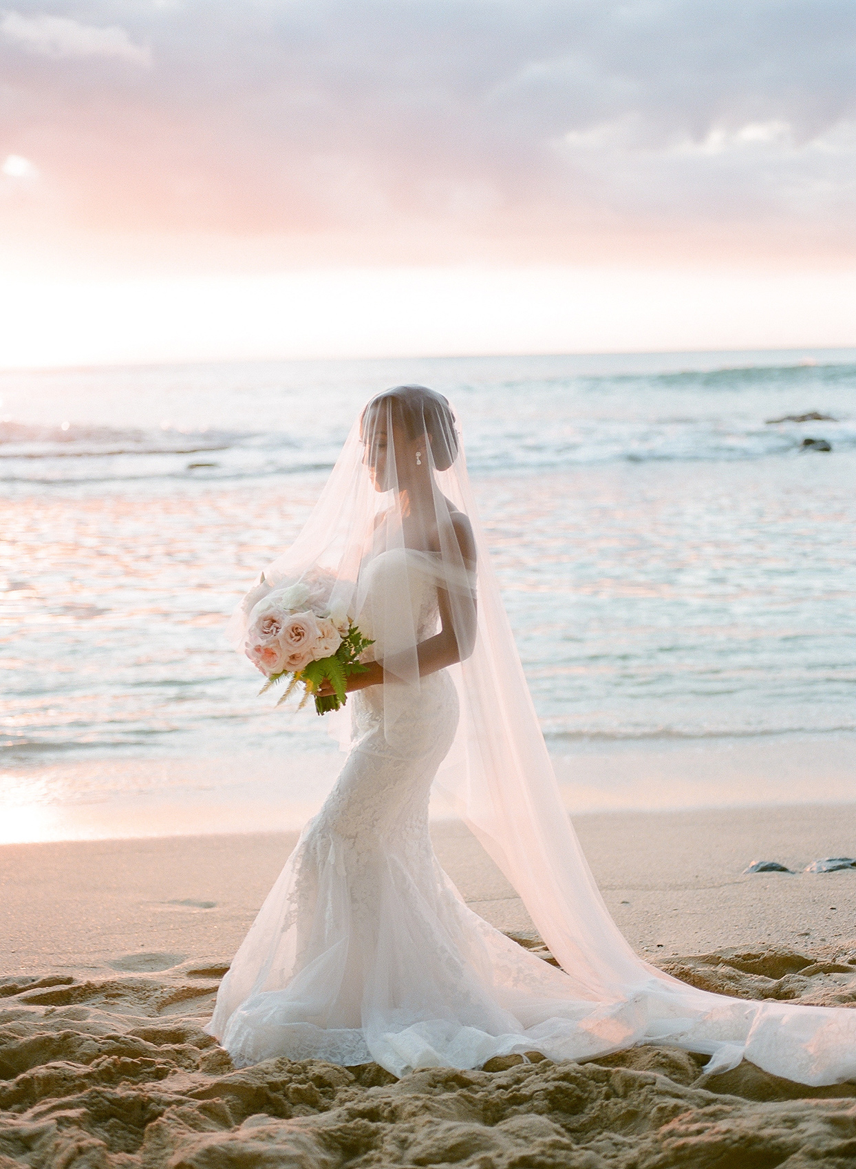 vanessa nathan wedding bride in white dress on beach at sunset