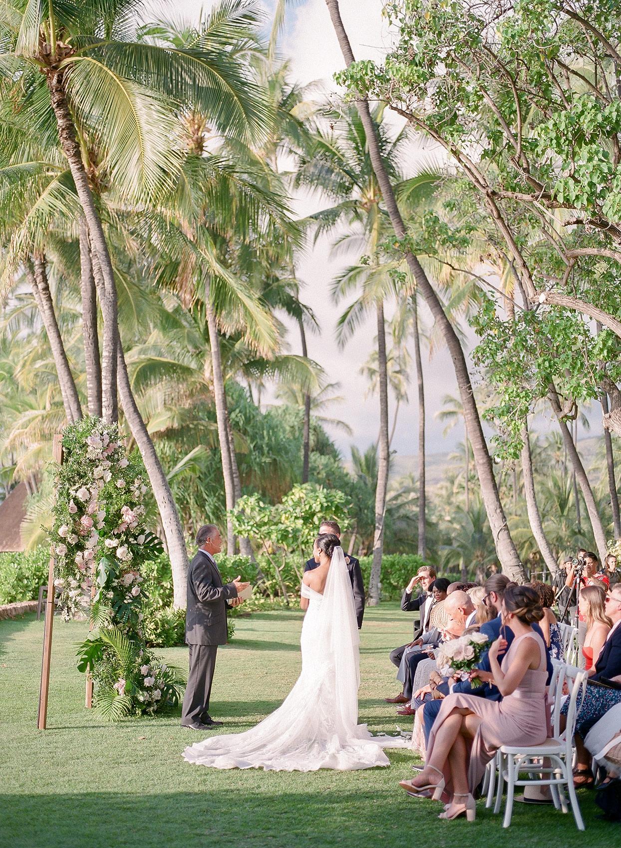 vanessa nathan wedding ceremony until Hawaiian palm trees