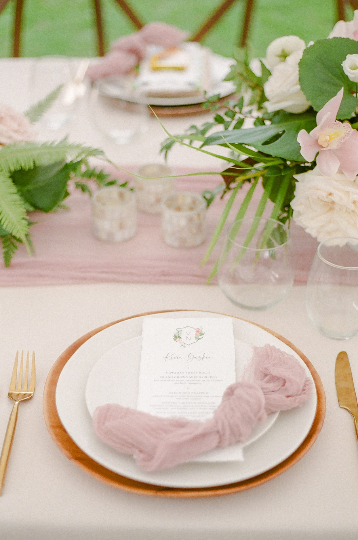 vanessa nathan wedding pastel pink and gold place setting with dinner menu