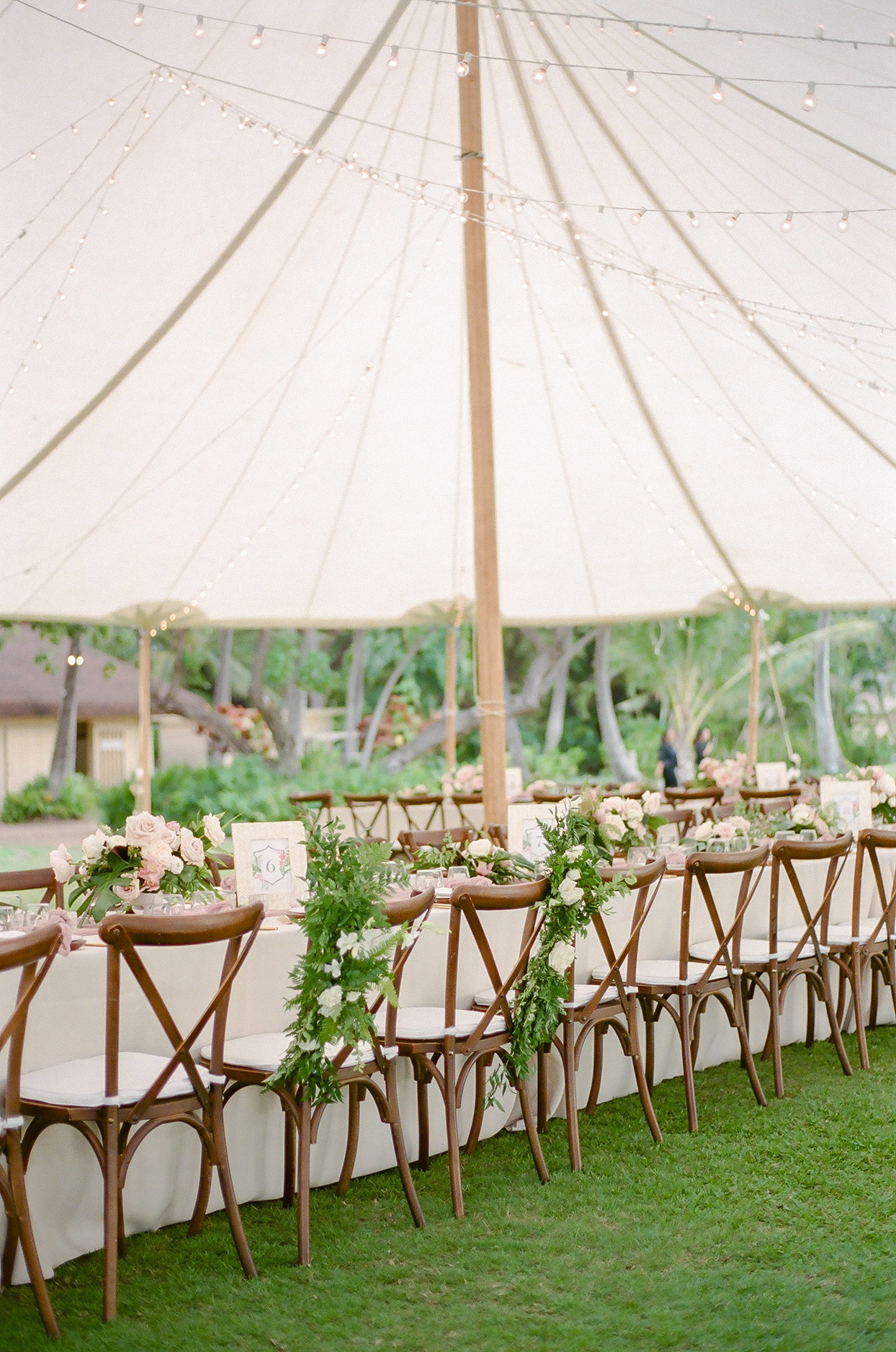 vanessa nathan wedding reception long table under tent