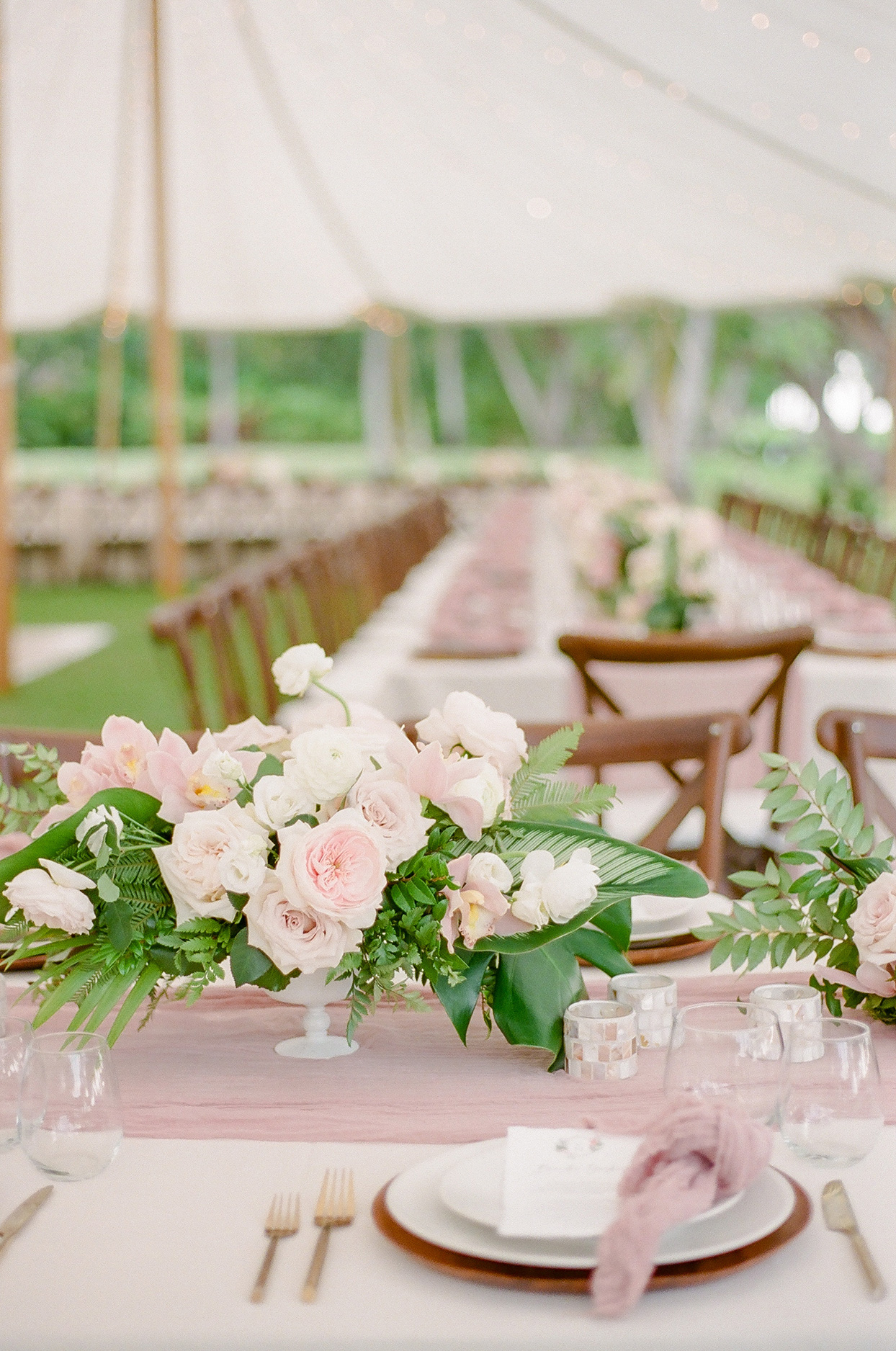 vanessa nathan wedding pastel pink table setting floral centerpiece