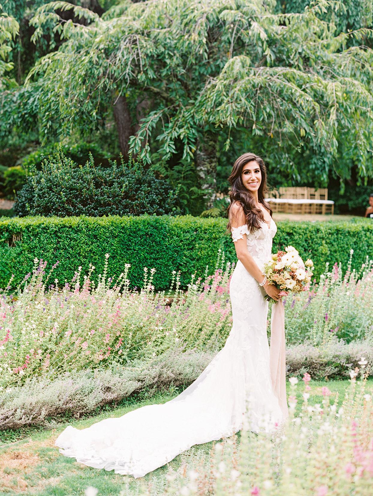 yalda anusha wedding bride standing in garden