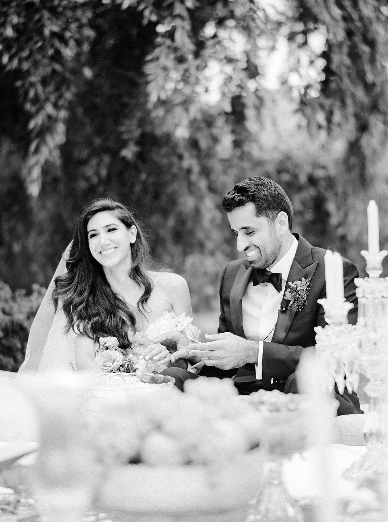 yalda anusha wedding ceremony couple sitting together at table