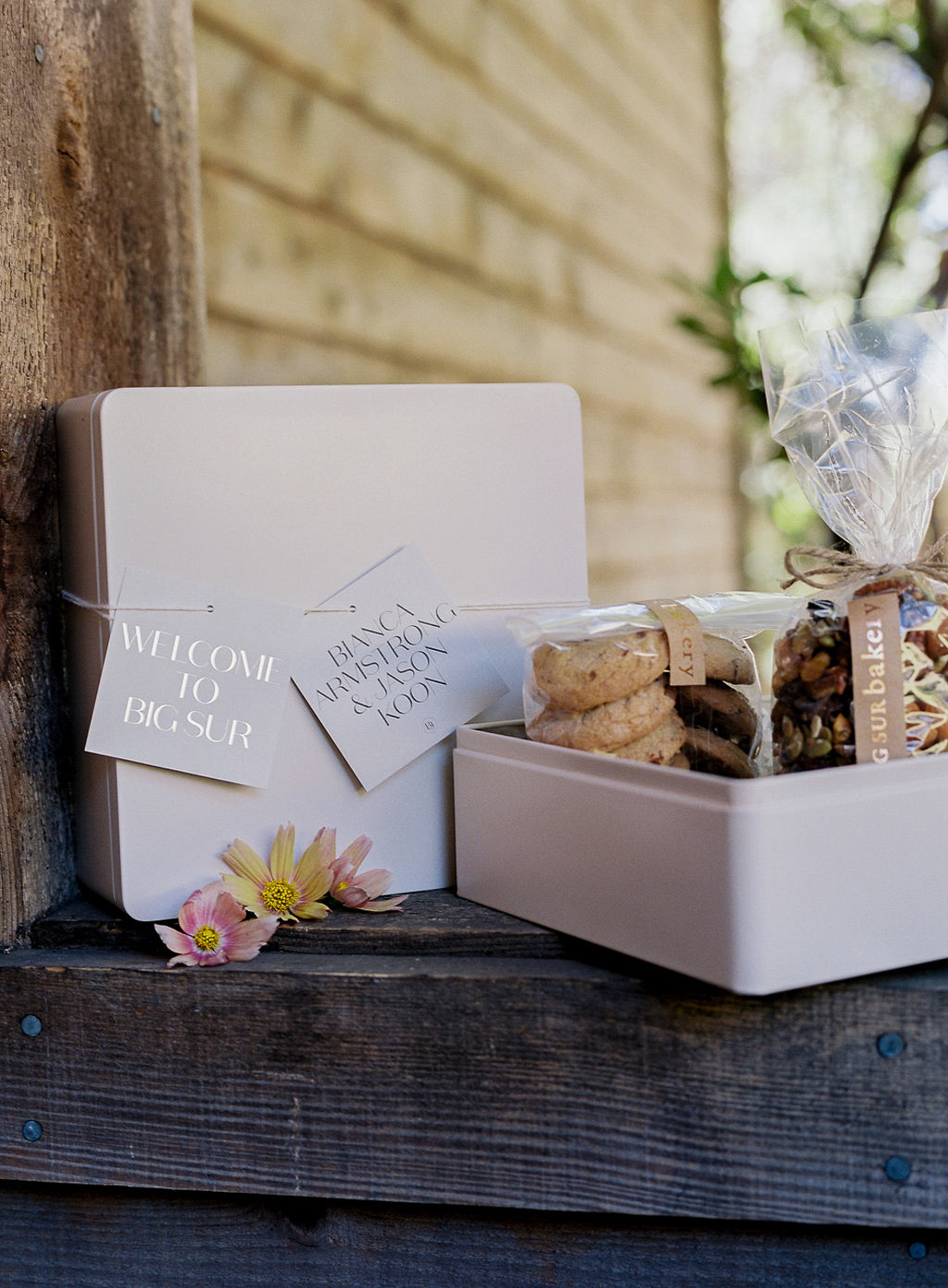 welcome boxes with cookies inside