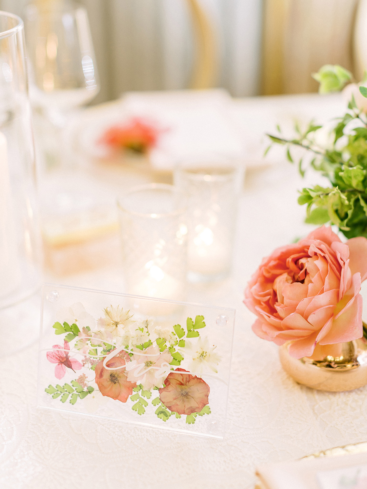 wedding table numbers with pressed flowers