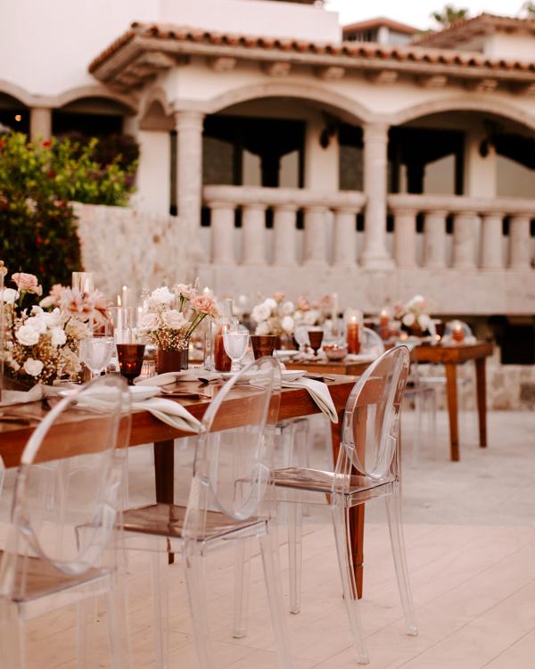 modern bohemian wedding reception tables