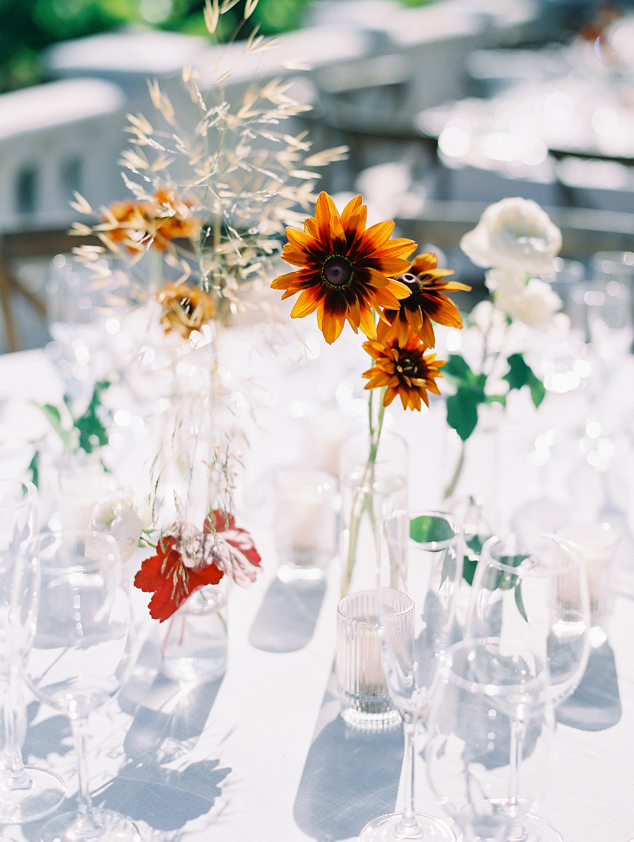 clear glass rehearsal dinner centerpieces with orange flowers