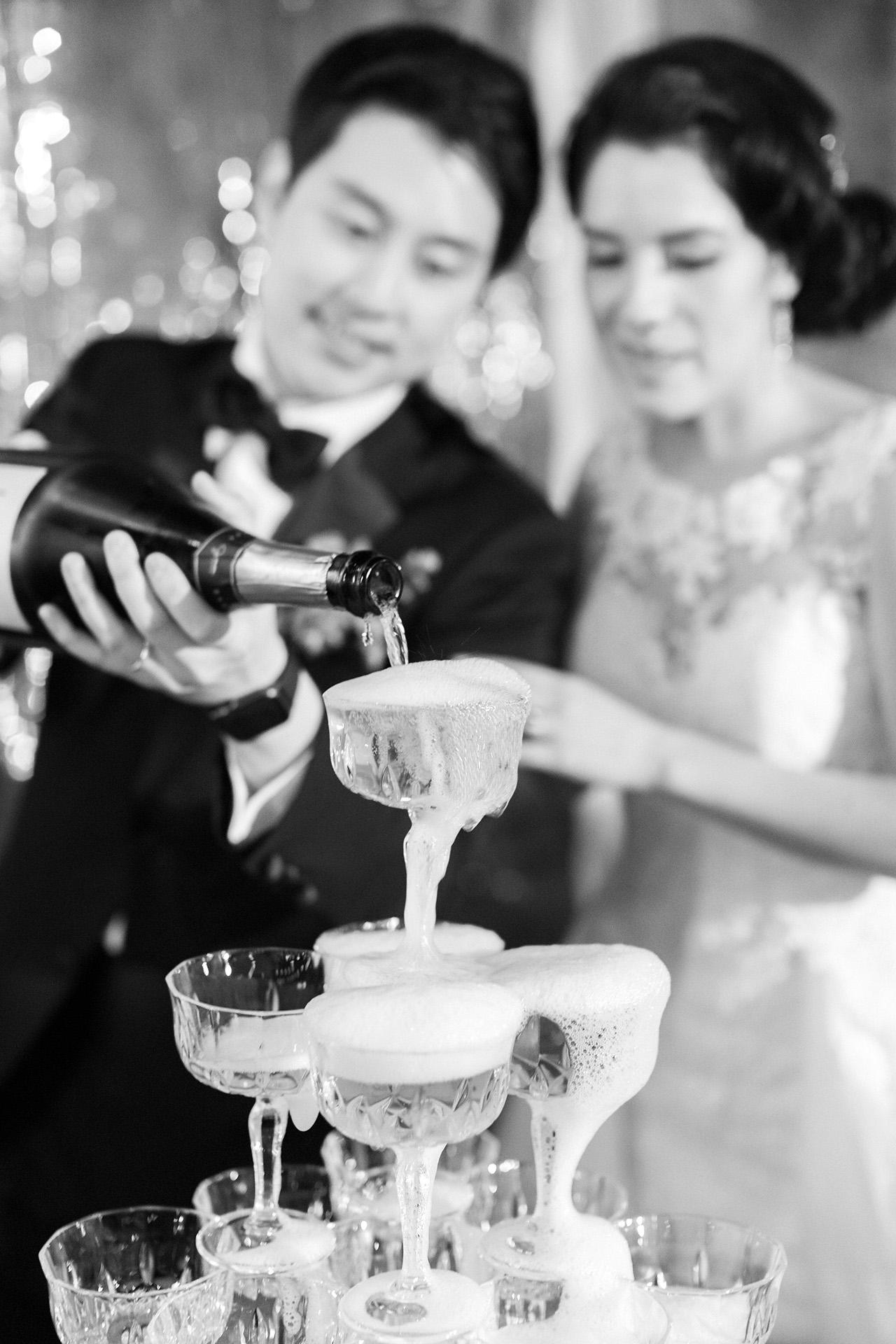 stephanie calvin wedding champagne