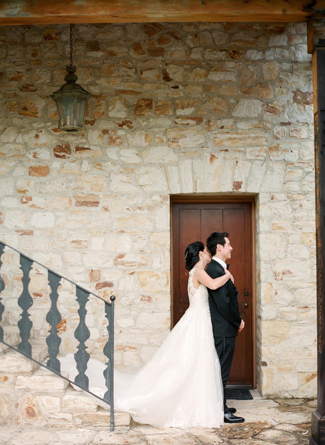 stephanie calvin wedding first look couple
