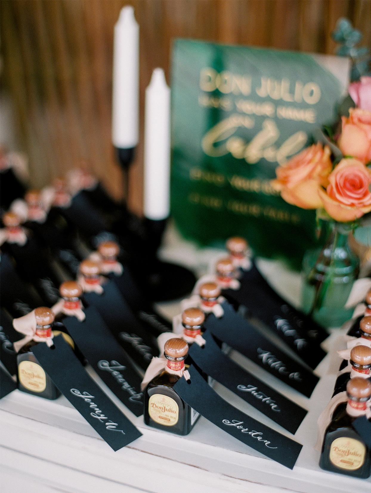 wedding alcohol bottle escort cards
